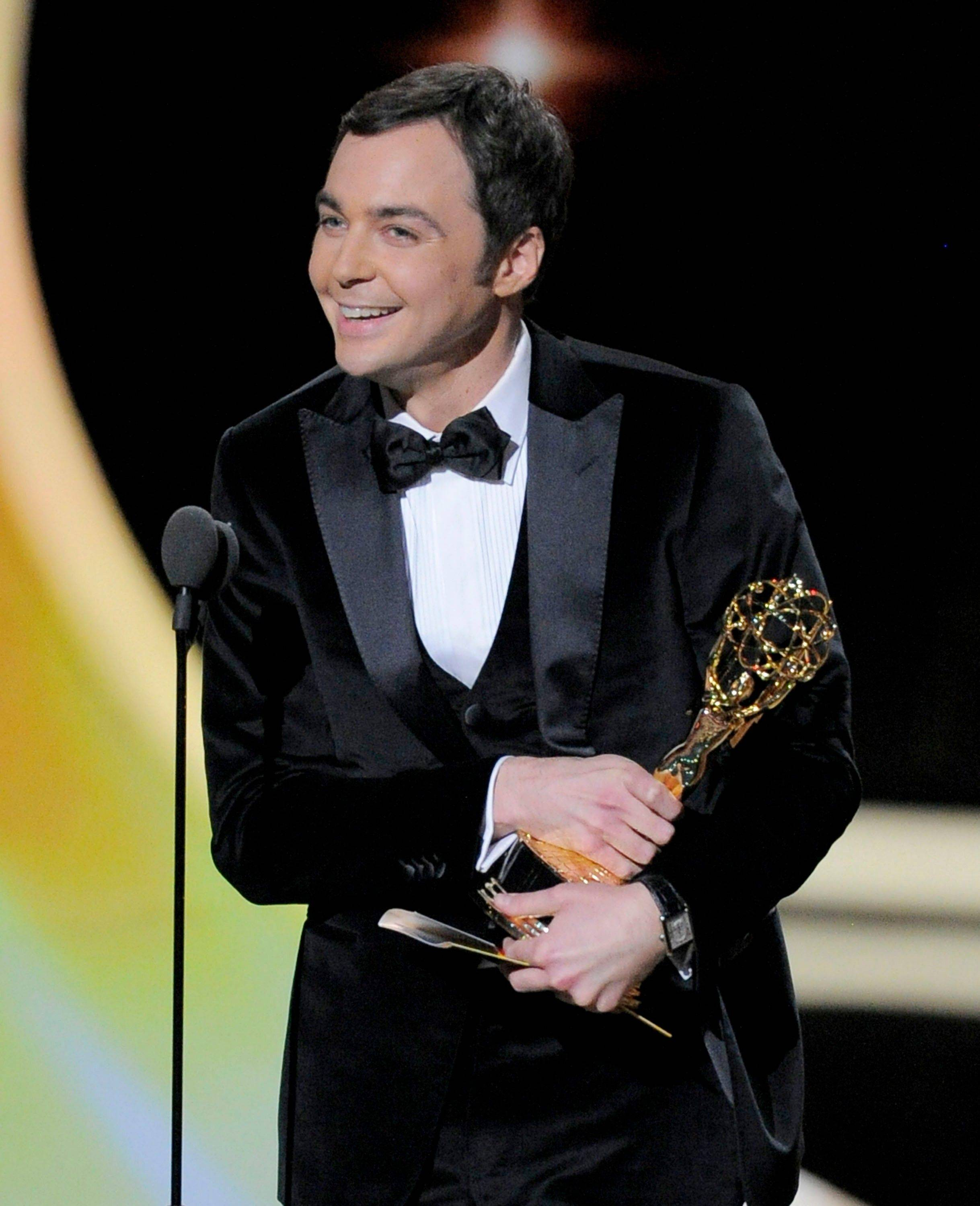 "Jim Parsons accepts the award for outstanding lead actor in a comedy series for ""The Big Bang Theory."""