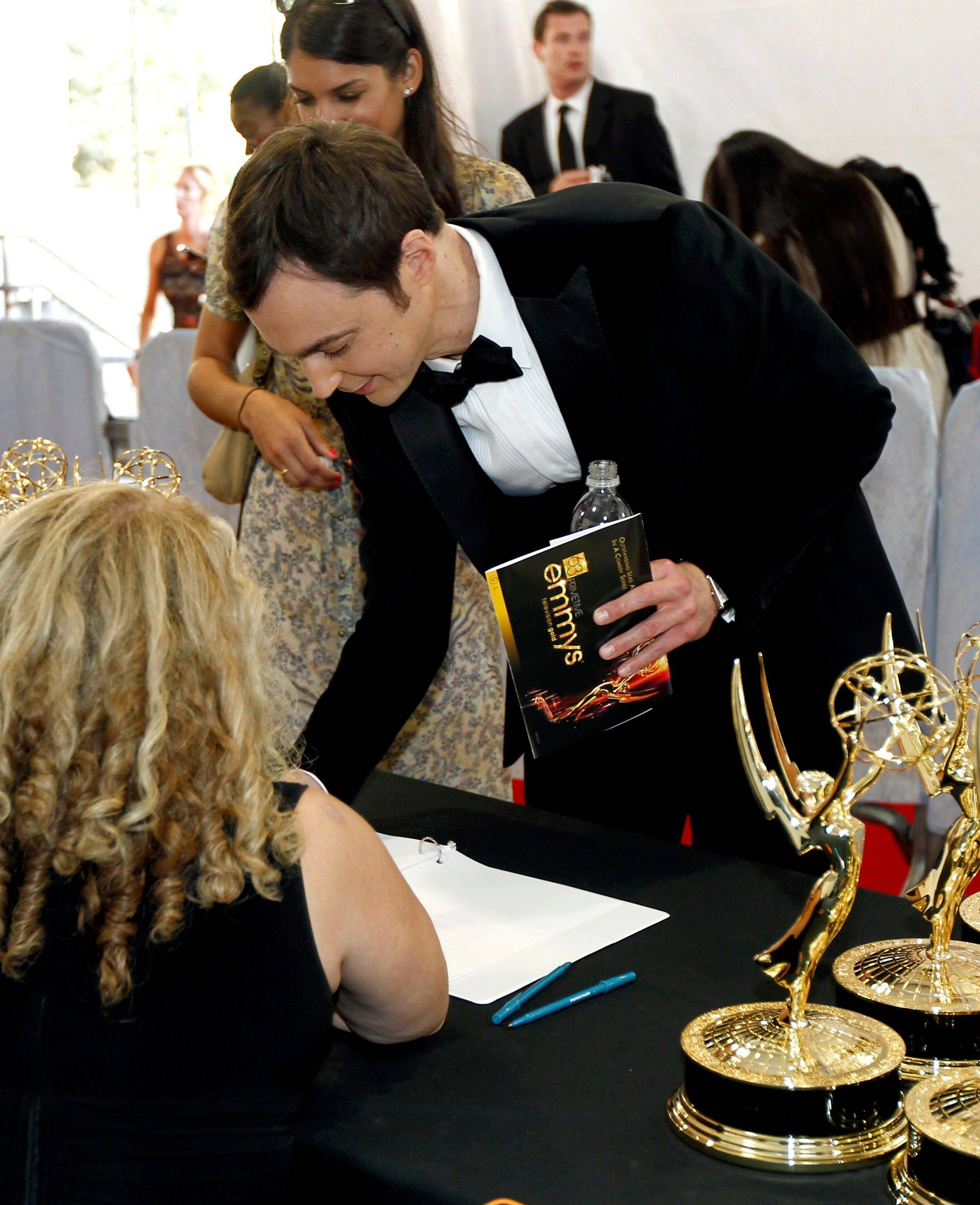 Jim Parsons is seen backstage after winning the award for outstanding lead actor in a comedy series.