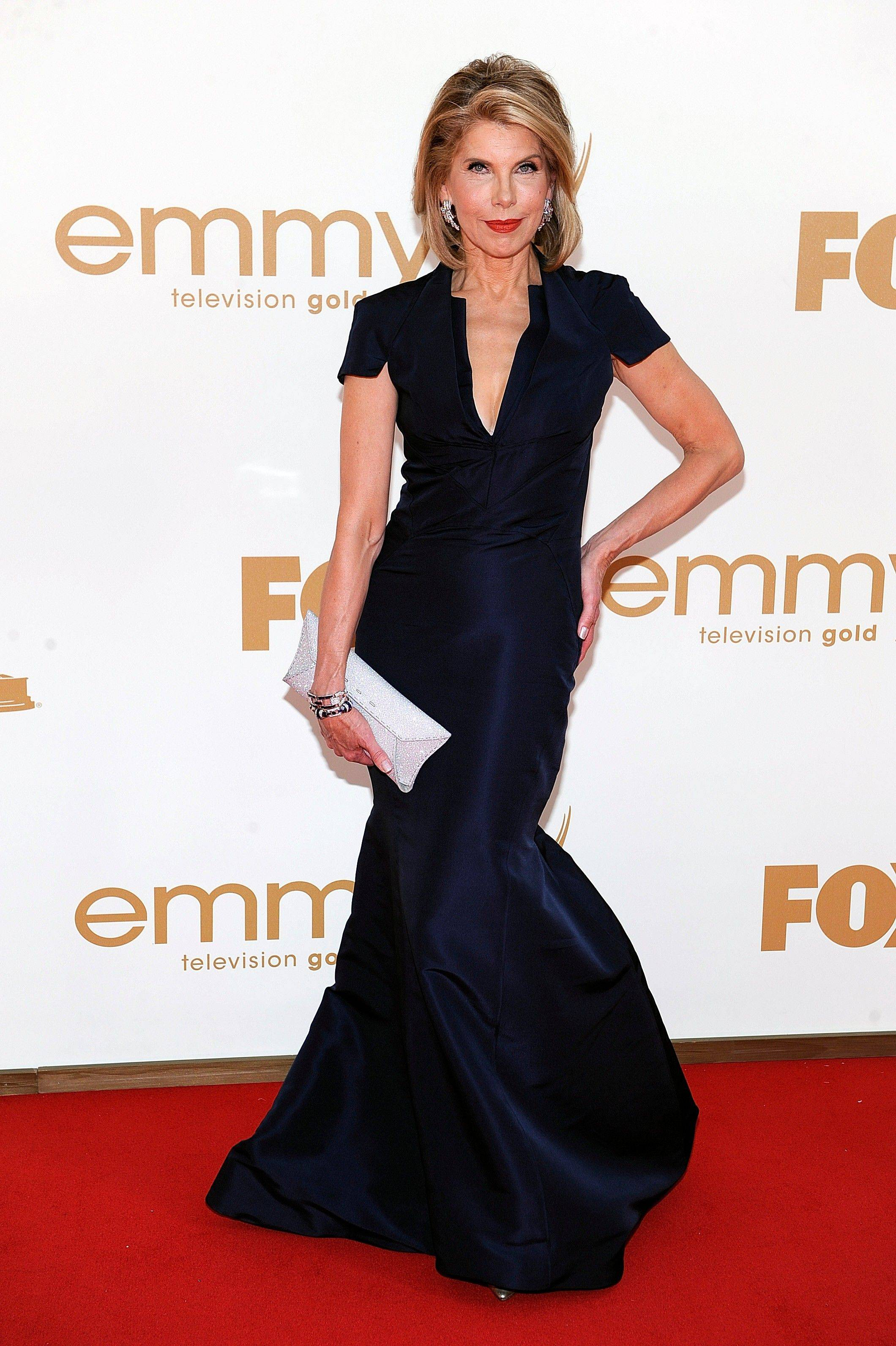 """Good Wife"" star Christine Baranski puts her own twist on the dark gown trend with this cap-sleeved number."