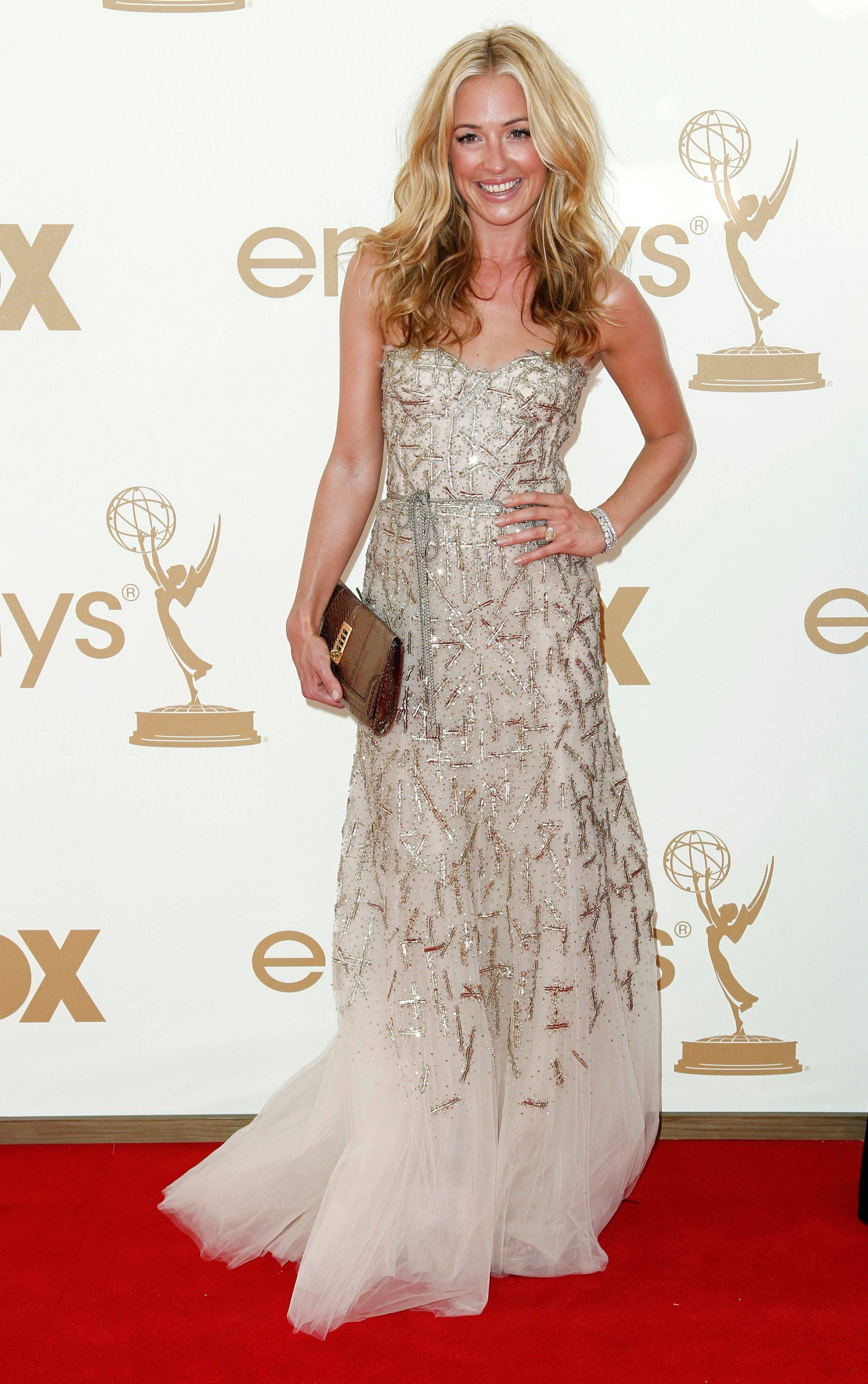 """So You Think You Can Dance"" host Cat Deeley gets in on the glittery trend of the evening."
