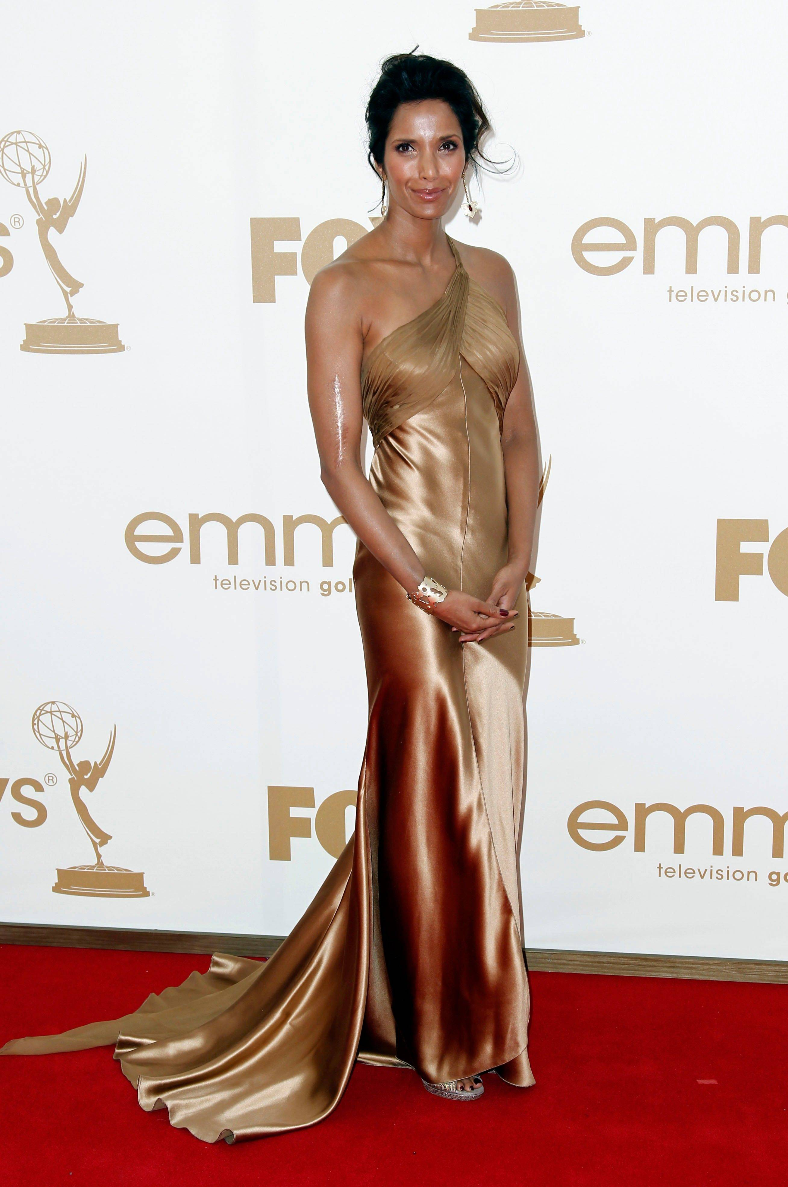 """Top Chef"" host Padma Lakshmi looks luminous in her Emmy gown. The TV star plays it a little safe staying with her usual style, but it pays off."