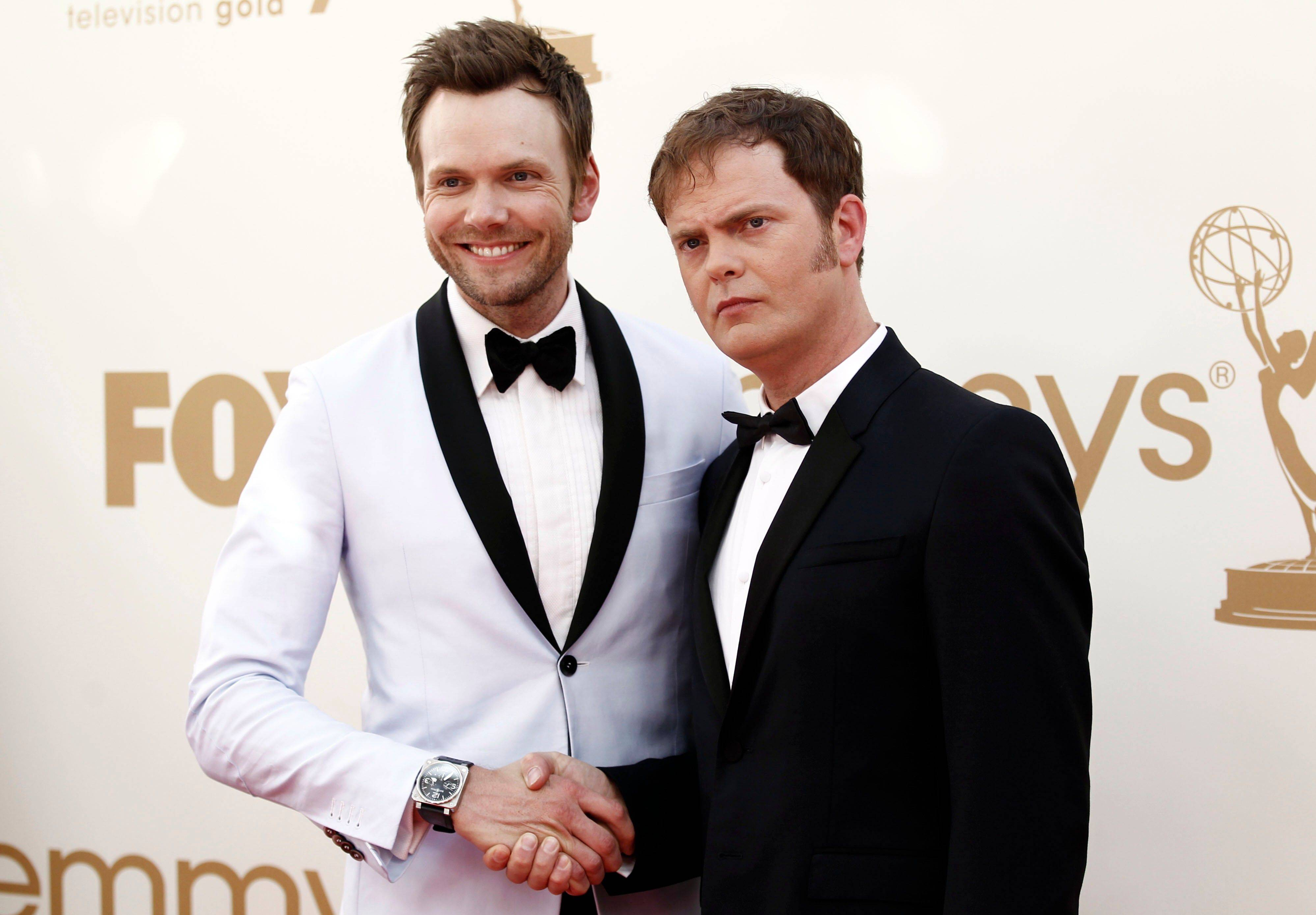"""The Office"" star Rainn Wilson, and ""Community"" star Joel McHale manage to have a litle bit of fun before the start of the ceremony."