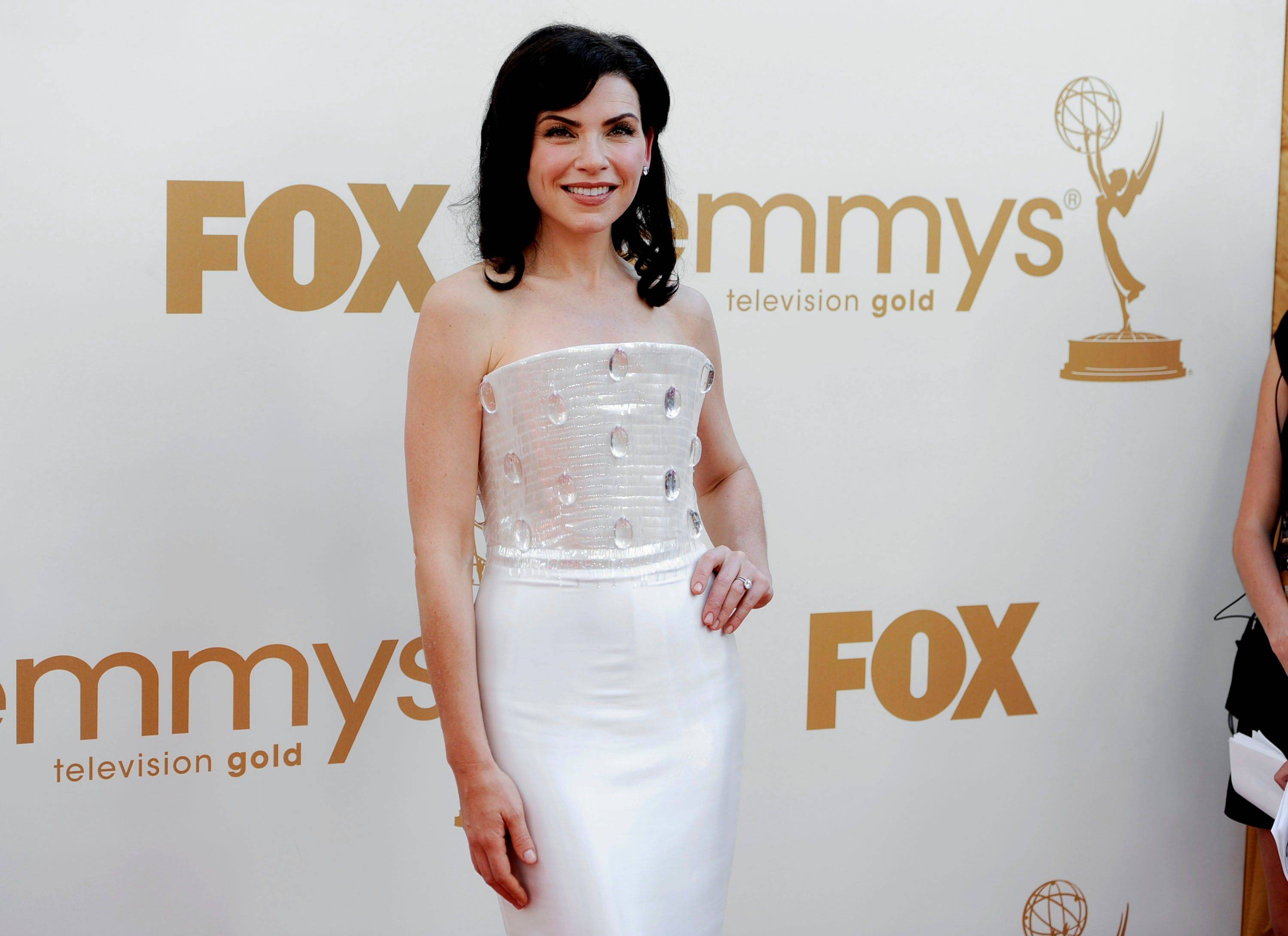 """Good Wife"" star Julianna Margulies, who was nominated for her role on the CBS show, usually knocks it out of the park on Emmy night, but the bodice of her Giorgio Armani Prive gown was oddly shaped and adorned with giant clear stones."