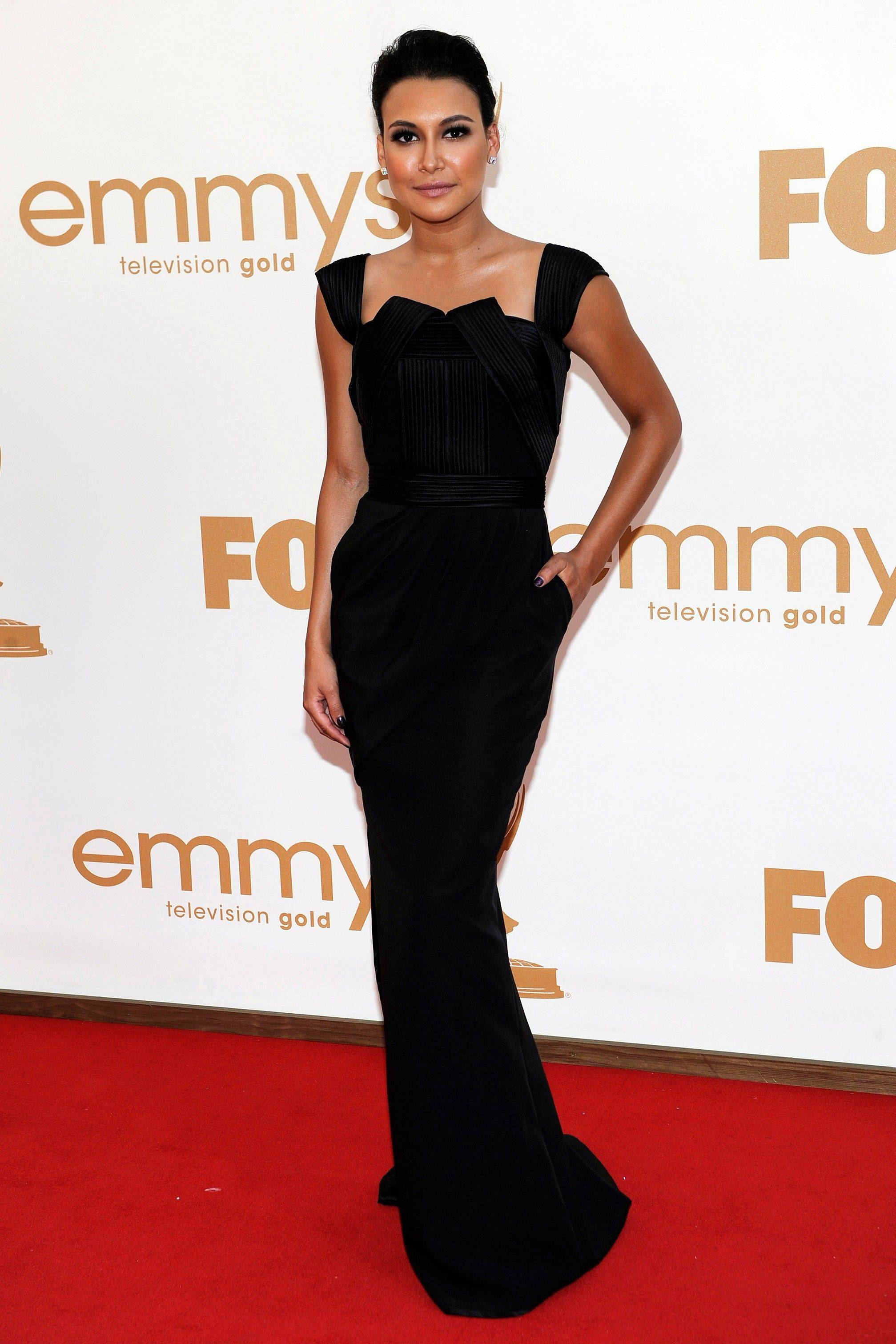 "The resident mean girl on ""Glee,"" Naya Rivera leaves her McKinley High duds far behind in this sophisticated Emmy garb."