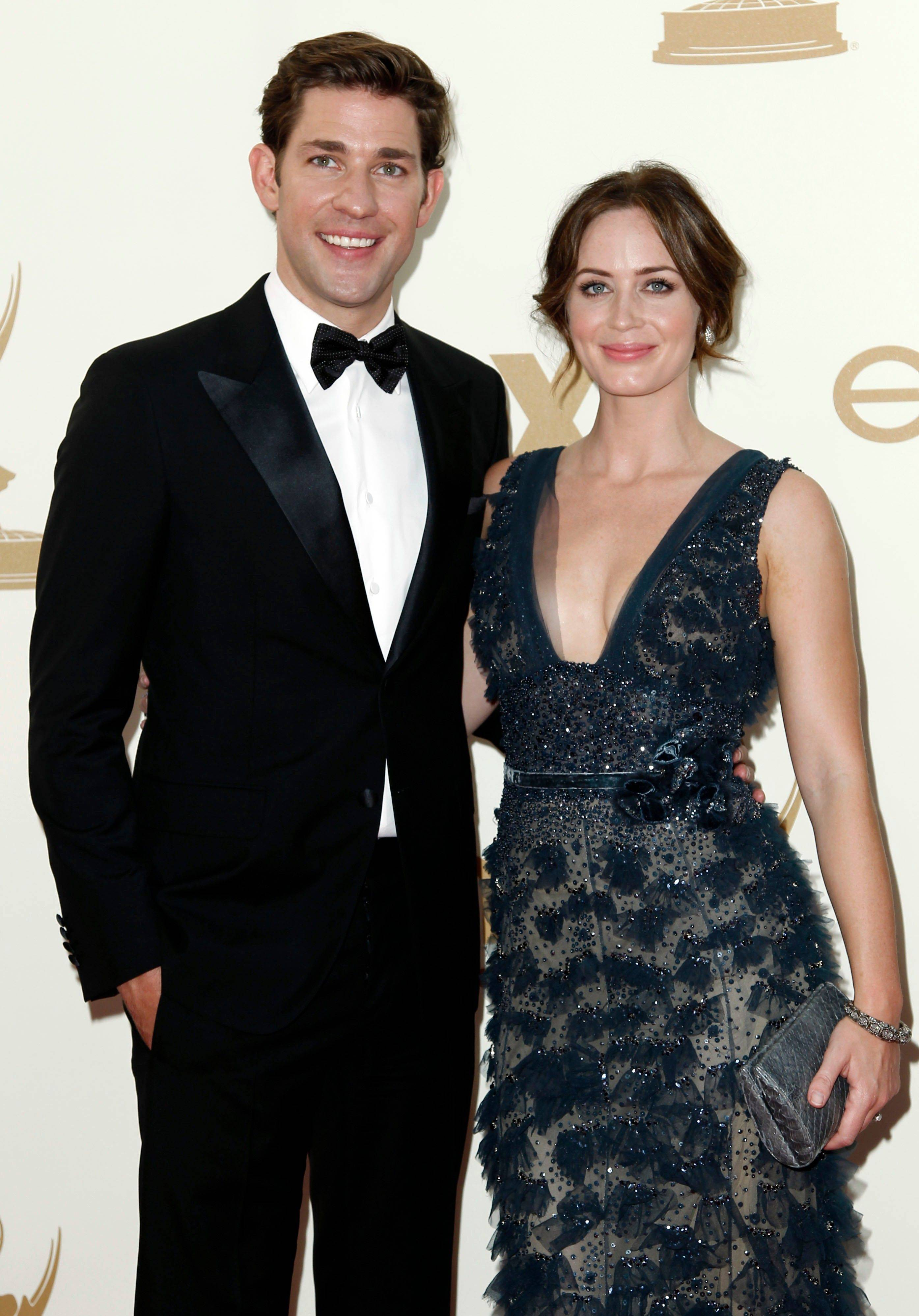 """The Office"" star John Krasinski and his wife, actress Emily Blunt, trot out there sophisticated evening wear for a night at the Emmys."