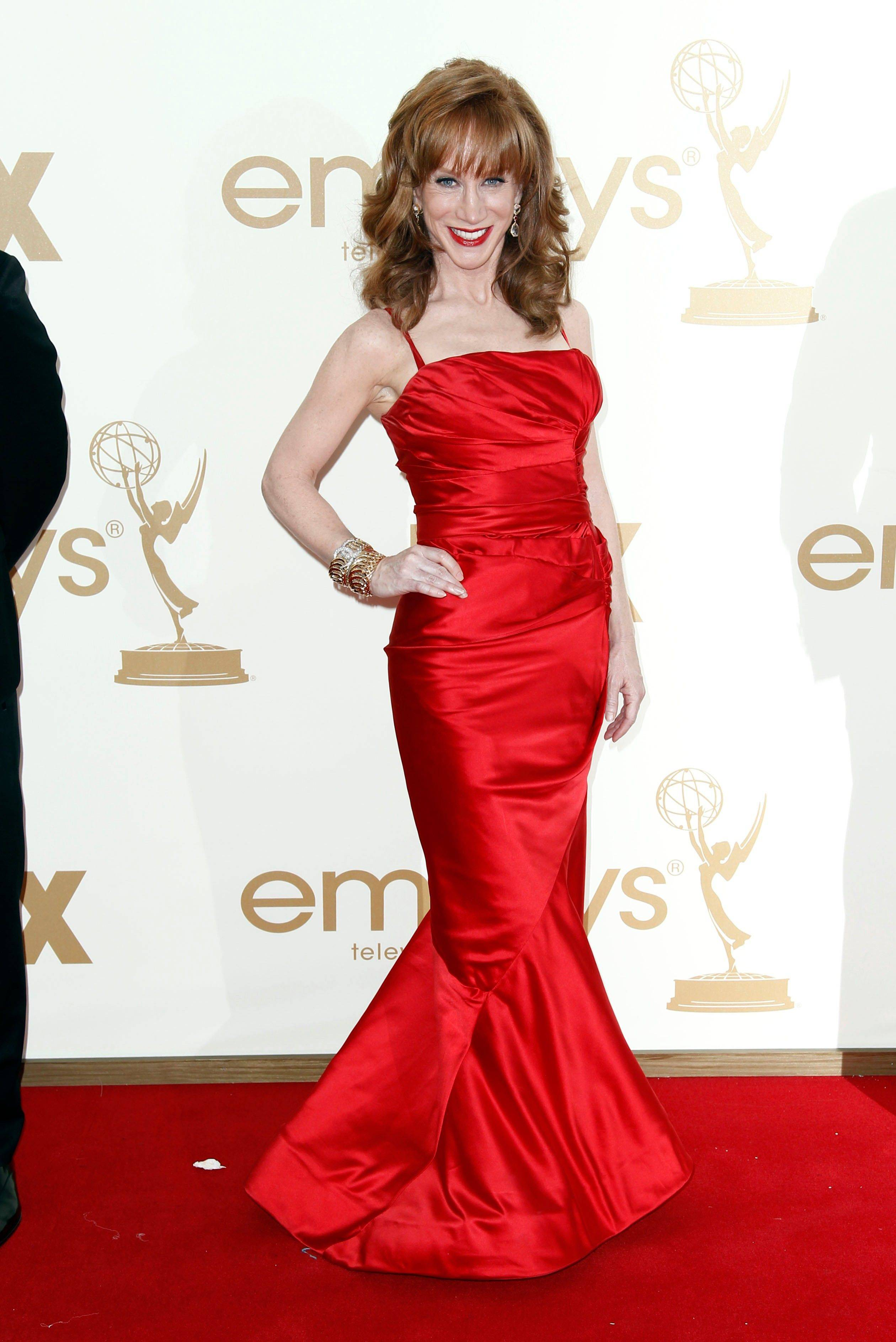 "Reality TV star and comedienne Kathy Griffin may actually avoid the ""worst dressed list"" in this form-fitting gown."