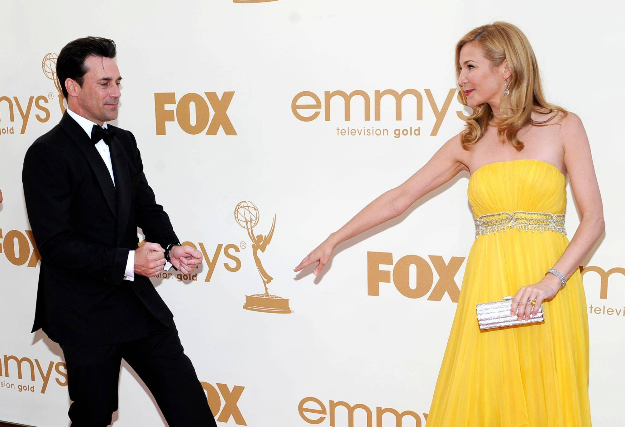 """Mad Men"" star Jon Hamm and Jennifer Westfeldt have a little fun on the red carpet."