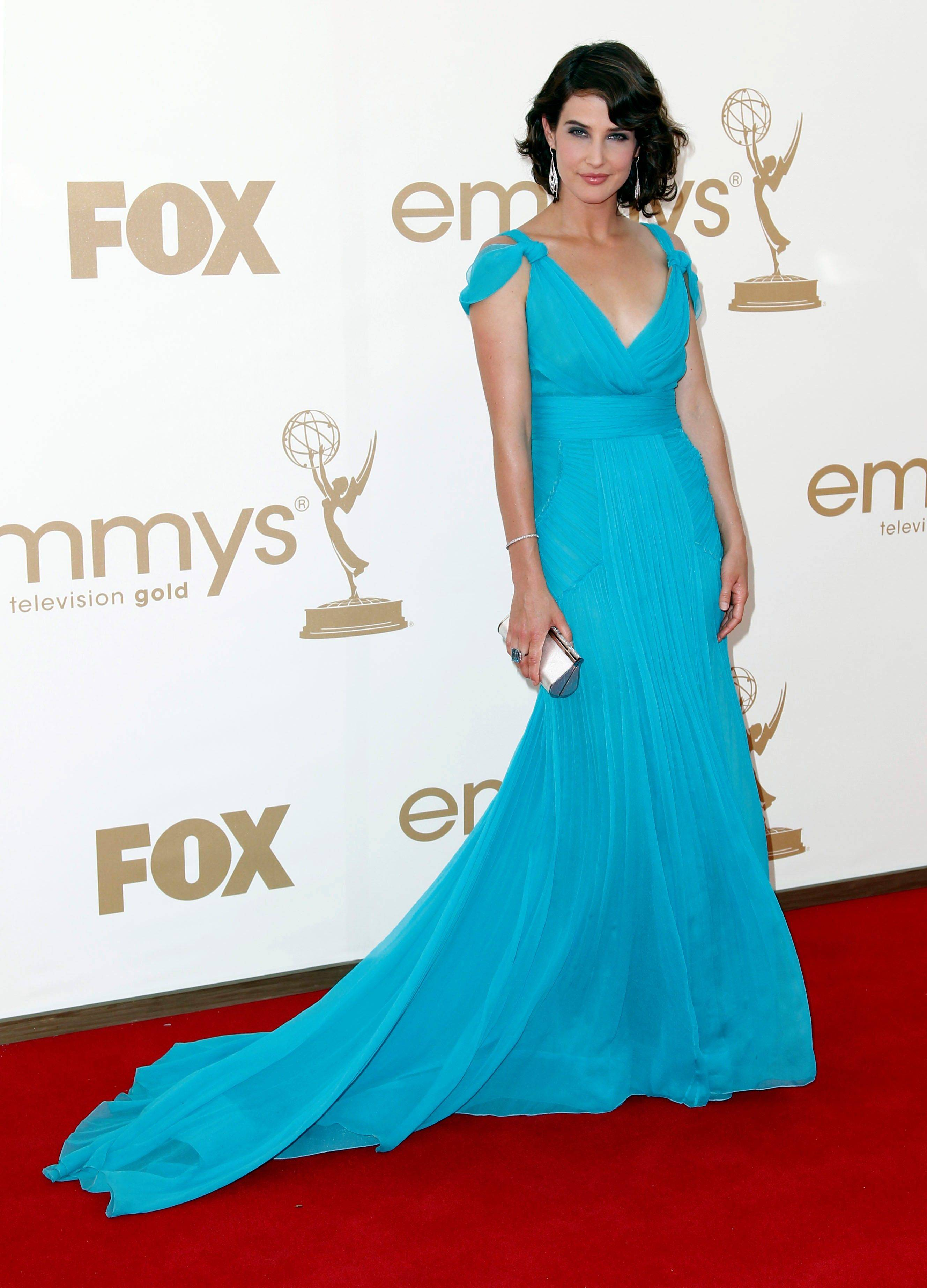 """How I Met Your Mother"" star Cobie Smulders stands out on the red carpet as the only star to don a bright blue gown."