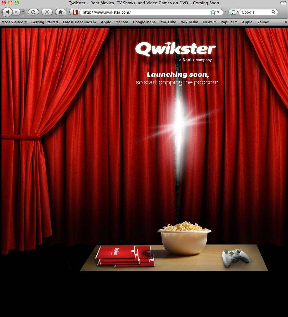 This screen shot shows Qwikster.com, a new website service available soon from Netflix.
