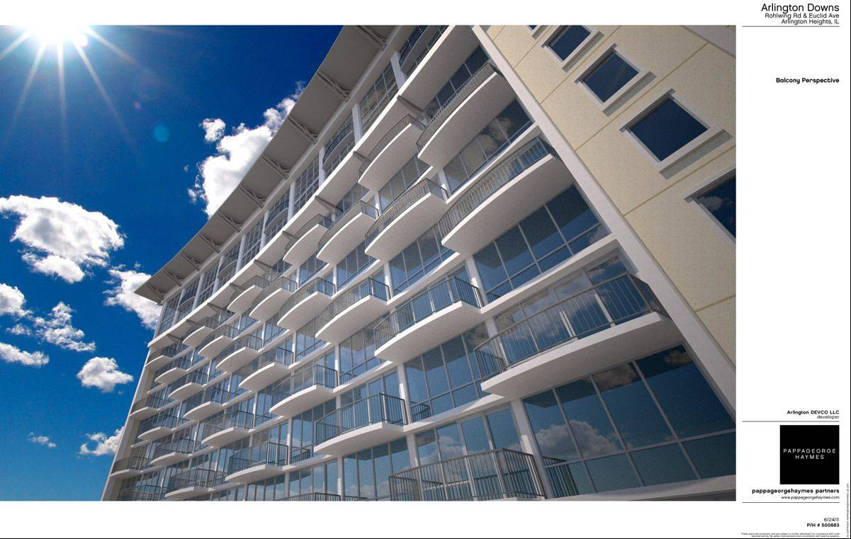 Balconies are proposed for the luxury apartments at Arlington Downs in Arlington Heights.