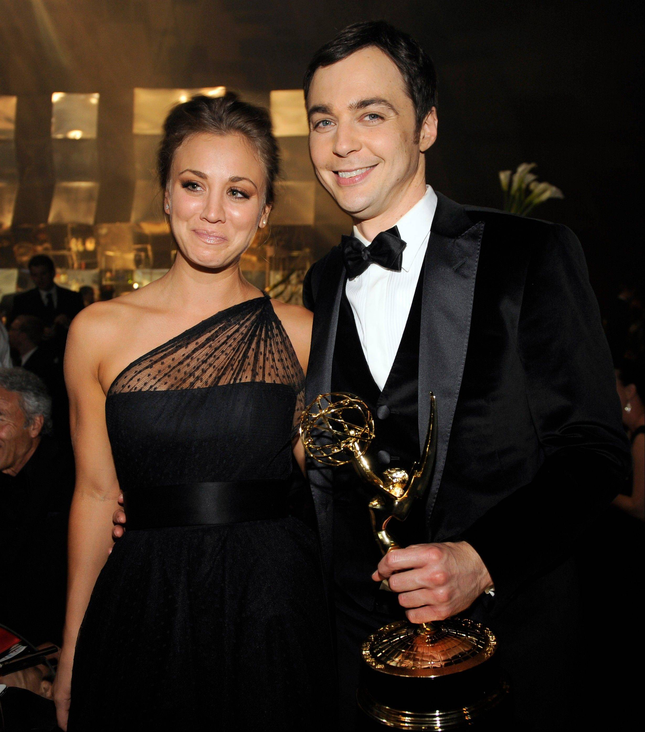 """The Big Bang Theory"" actor Jim Parsons winner of the Emmy for best actor in a comedy series is joined by castmate Kaley Cucco at the 63rd Primetime Emmy Awards Governors Ball Sunday."