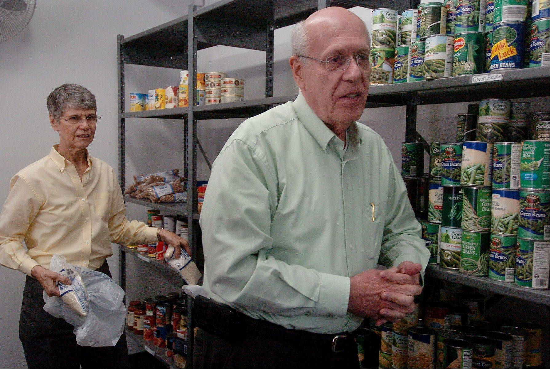 Barbara and Jim Bradley work at the new Wheeling food pantry that Jim has been working on for two years.