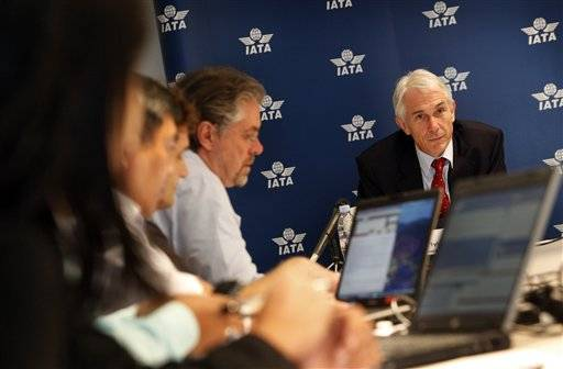 International Air Transport Association Chief Executive Tony Tyler speaks to reporters Tuesday in Singapore.