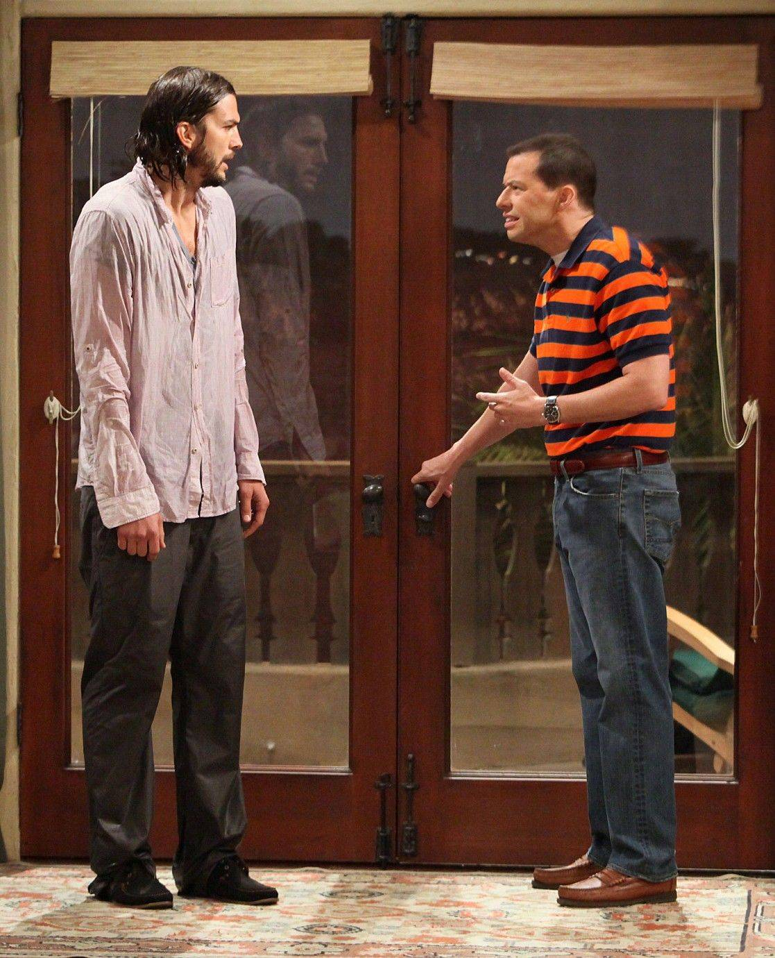 "Jon Cryer portrays Alan Harper, left, and Ashton Kutcher portrays Walden Schmidt in Kutcher's debut on the CBS comedy ""Two and a Half Men."""