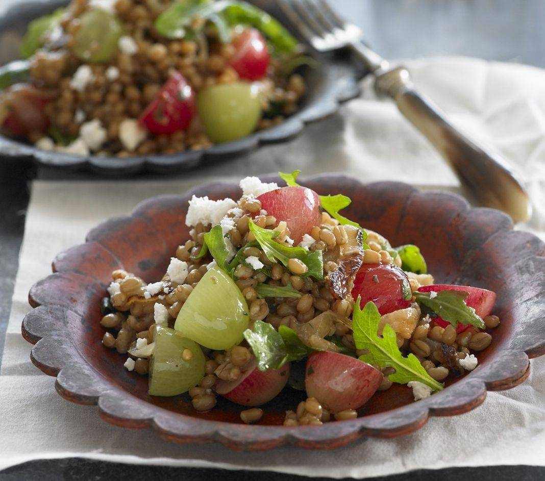 Wheat Berry Salad with Caramelized Onions and Grapes