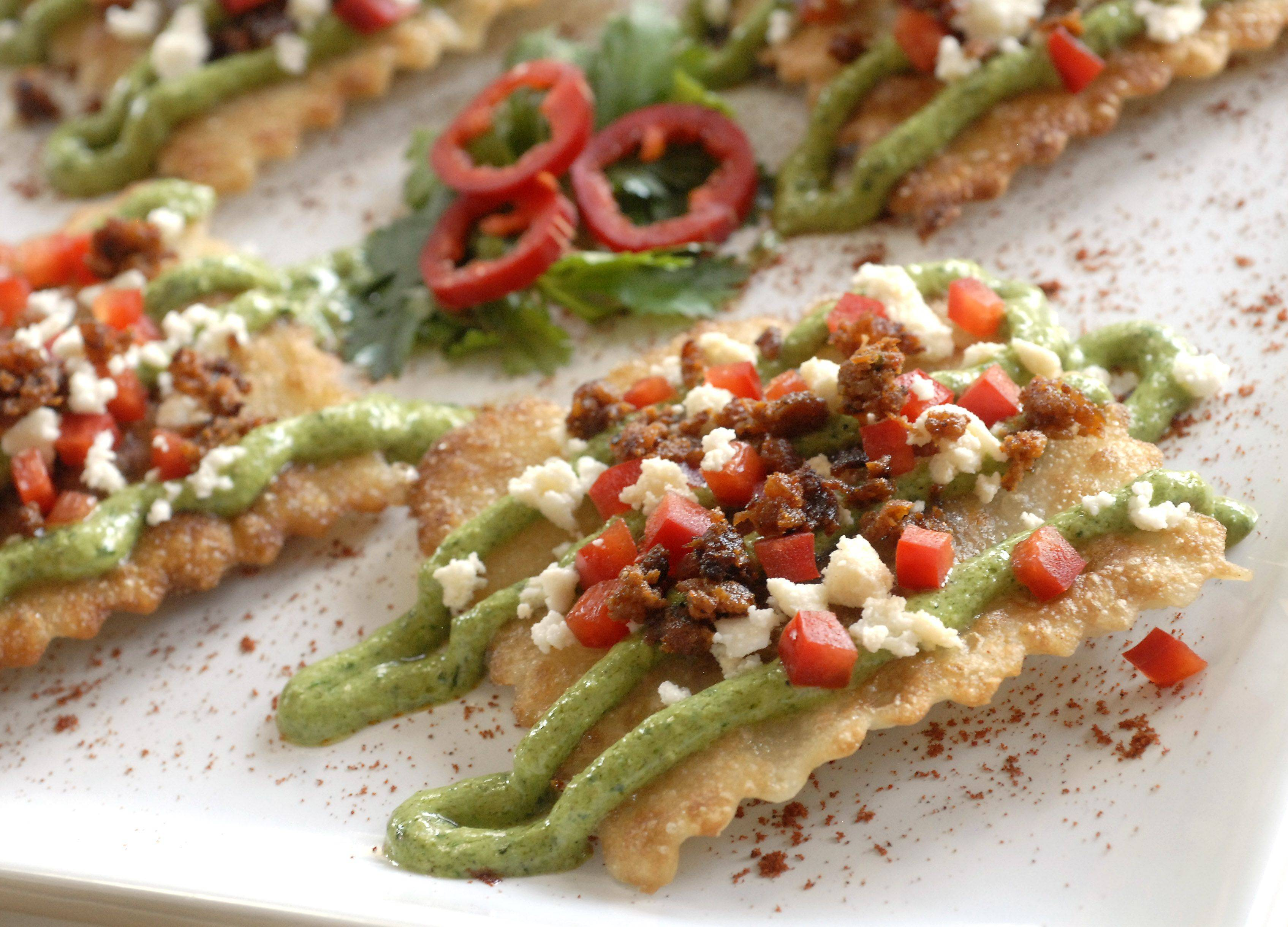 Pan Fried Chorizo Ravioli with Creamy Spinach Pesto from Mary Beth Riley of Elk Grove Village