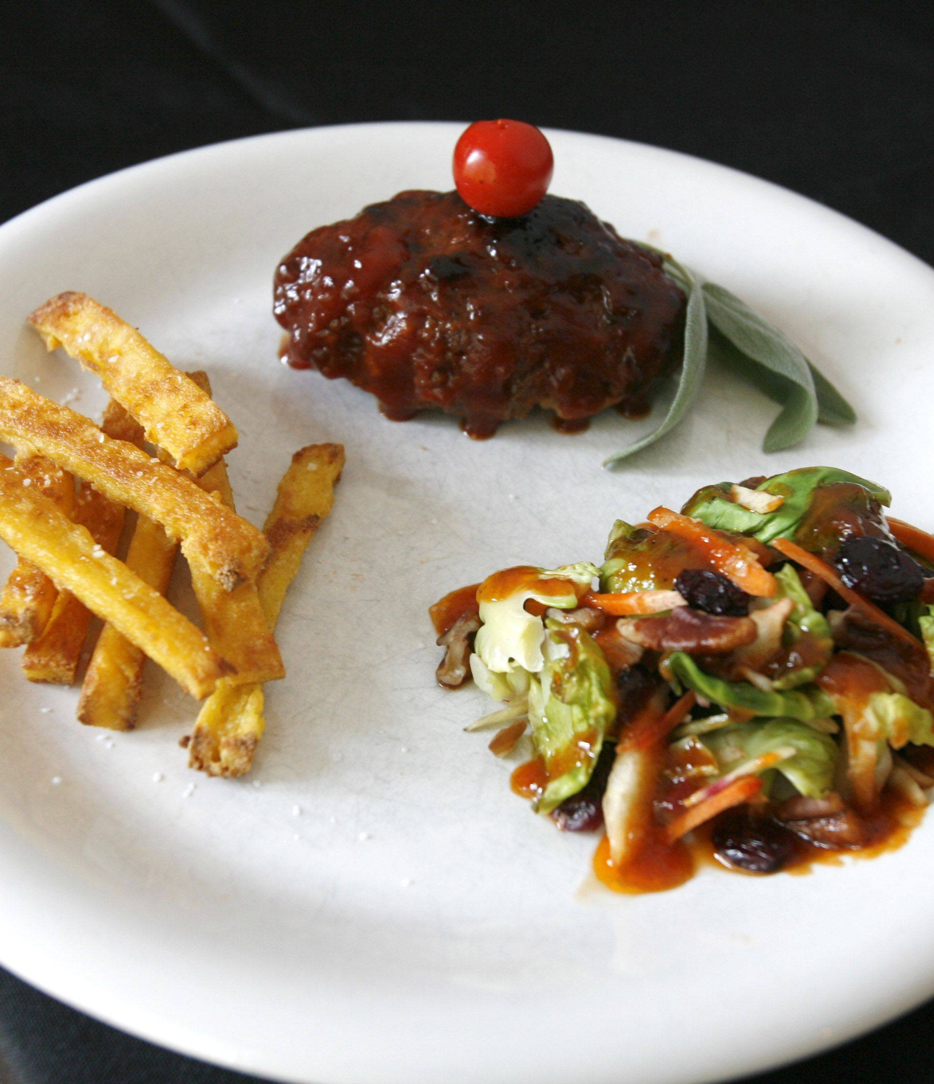 BBQ Meat Loaf with Polenta Fries and Brussels Sprouts Salad with Spicy Dressing