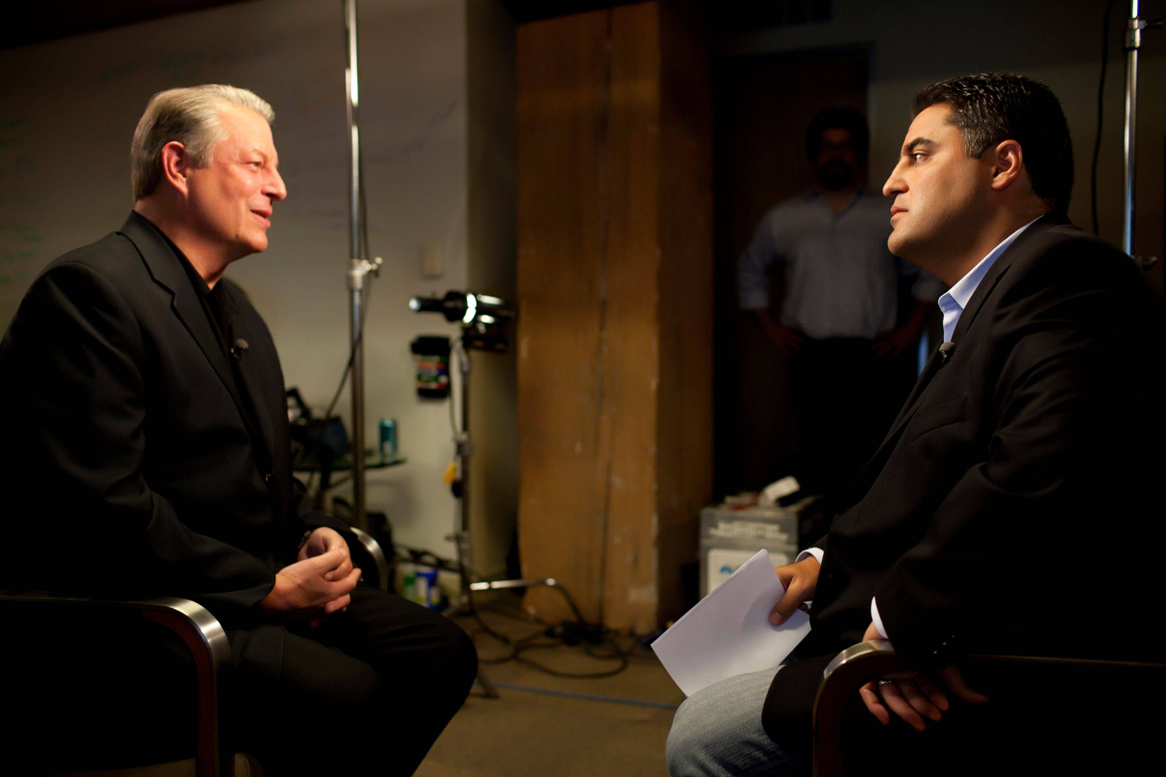 "Al Gore, former vice president and Current chairman and co-founder, speaks with Cent Uygur during an interview for Uygur's online show ""The Young Turks."""