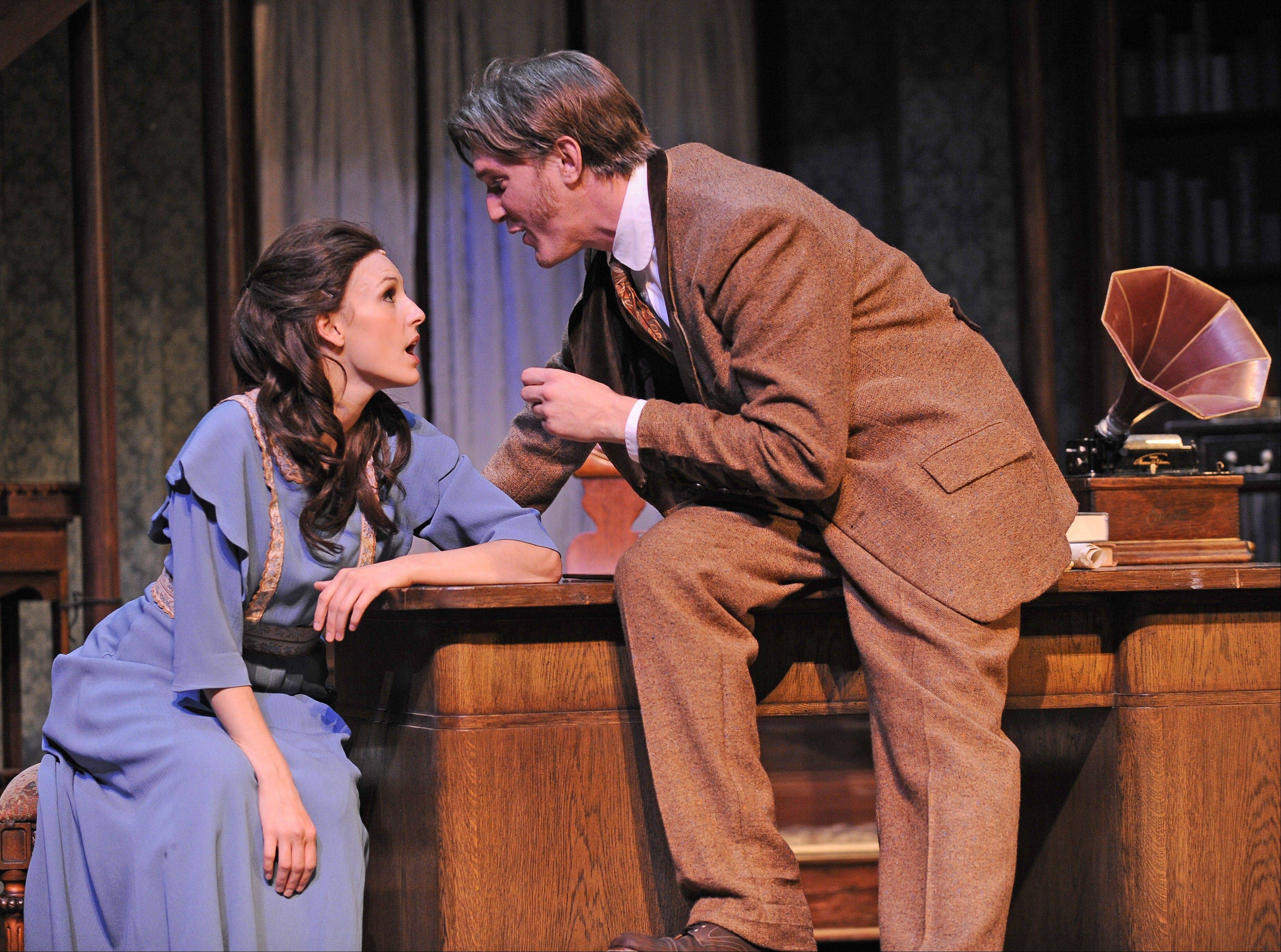 "Eliza Doolittle (Andrea Prestinario) tires of all the vocal exercises implemented by Professor Henry Higgins (Nathan M. Hosner) in Paramount Theatre's new production of ""My Fair Lady"" in Aurora."
