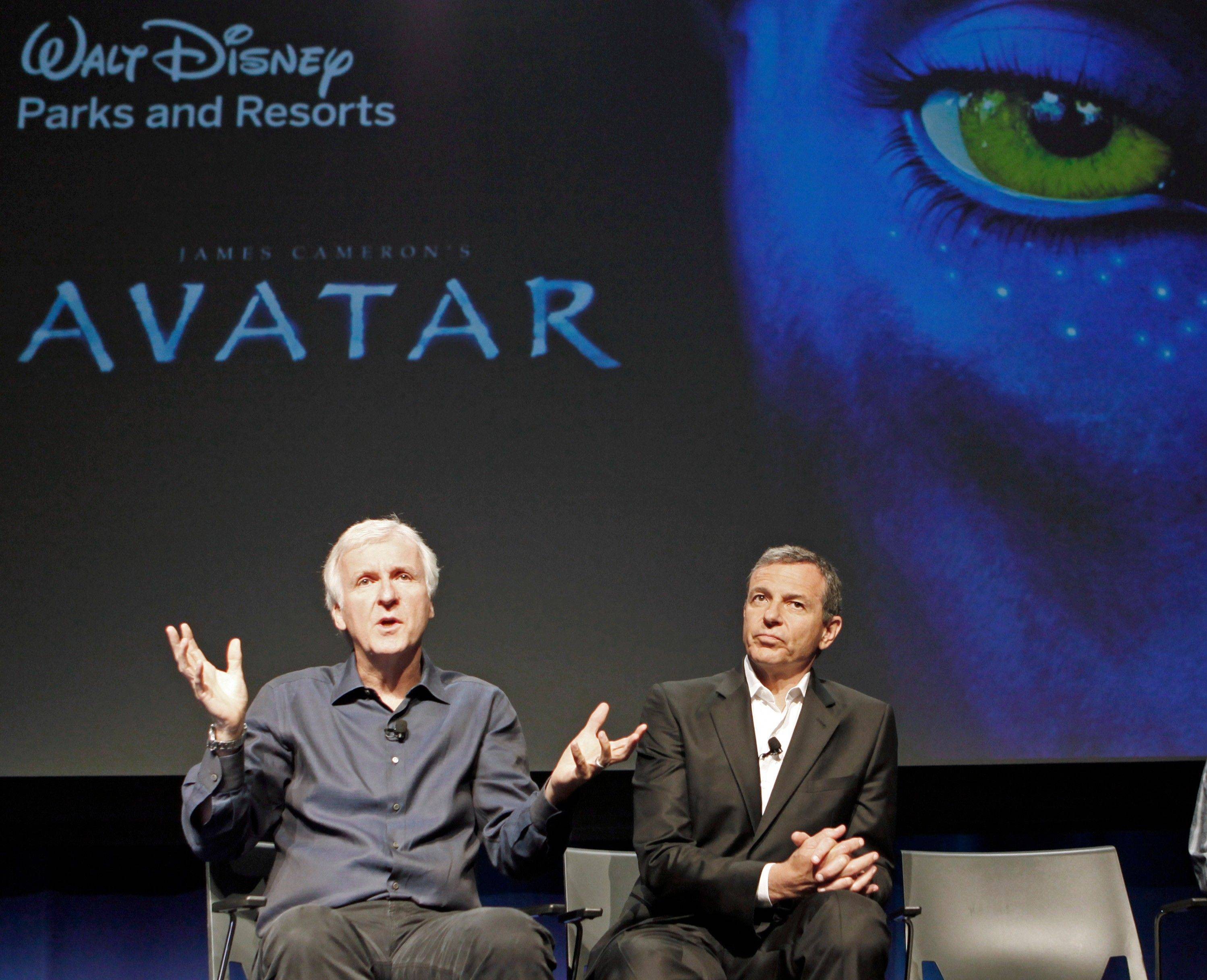 "Robert Iger, president and CEO of the Walt Disney Company, right, and filmmaker James Cameron announce plans Tuesday to open an ""Avatar""-themed land, first at Animal Kindgom at Walt Disney World in Florida, and later at other Disney theme parks, at a news conference at Disney Imagineering in Glendale, Calif."