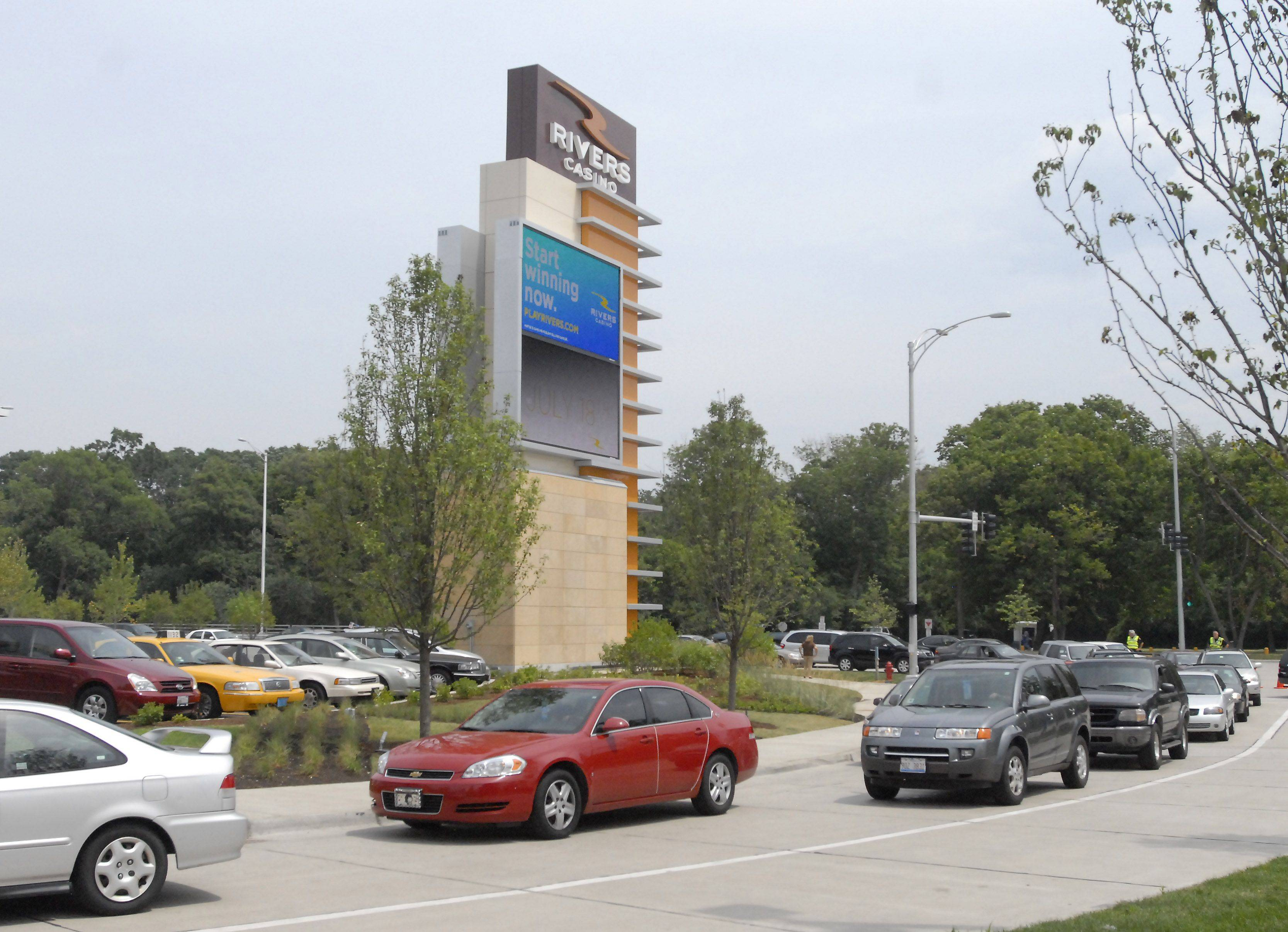 Des Plaines has 30 electronic message boards ranging in size from 6 square feet to this 923-square-foot board at the Rivers Casino off Des Plaines River Road and Devon Avenue.