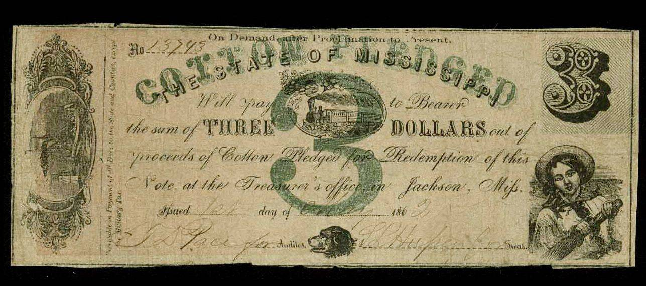 A $3 note issued in 1862 by the Jackson, Miss., Treasurer�s Office.