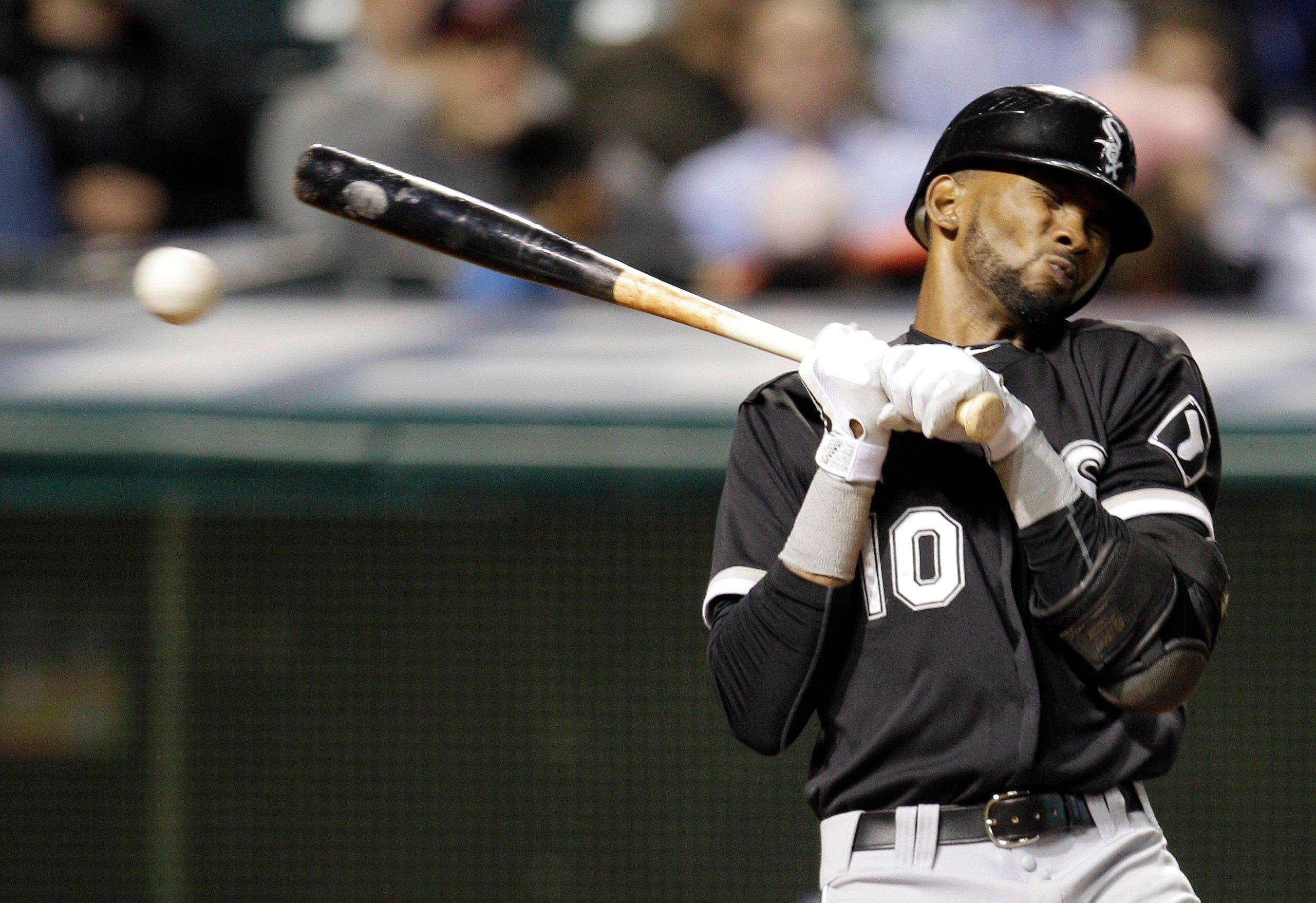 White Sox shortstop Alexei Ramirez is hit by a pitch by Indians relief pitcher Josh Judy in the ninth inning Tuesday night. Sox batters have been hit by a pitch 82 times this season, while their pitches have only hit opposing batters 41 times.