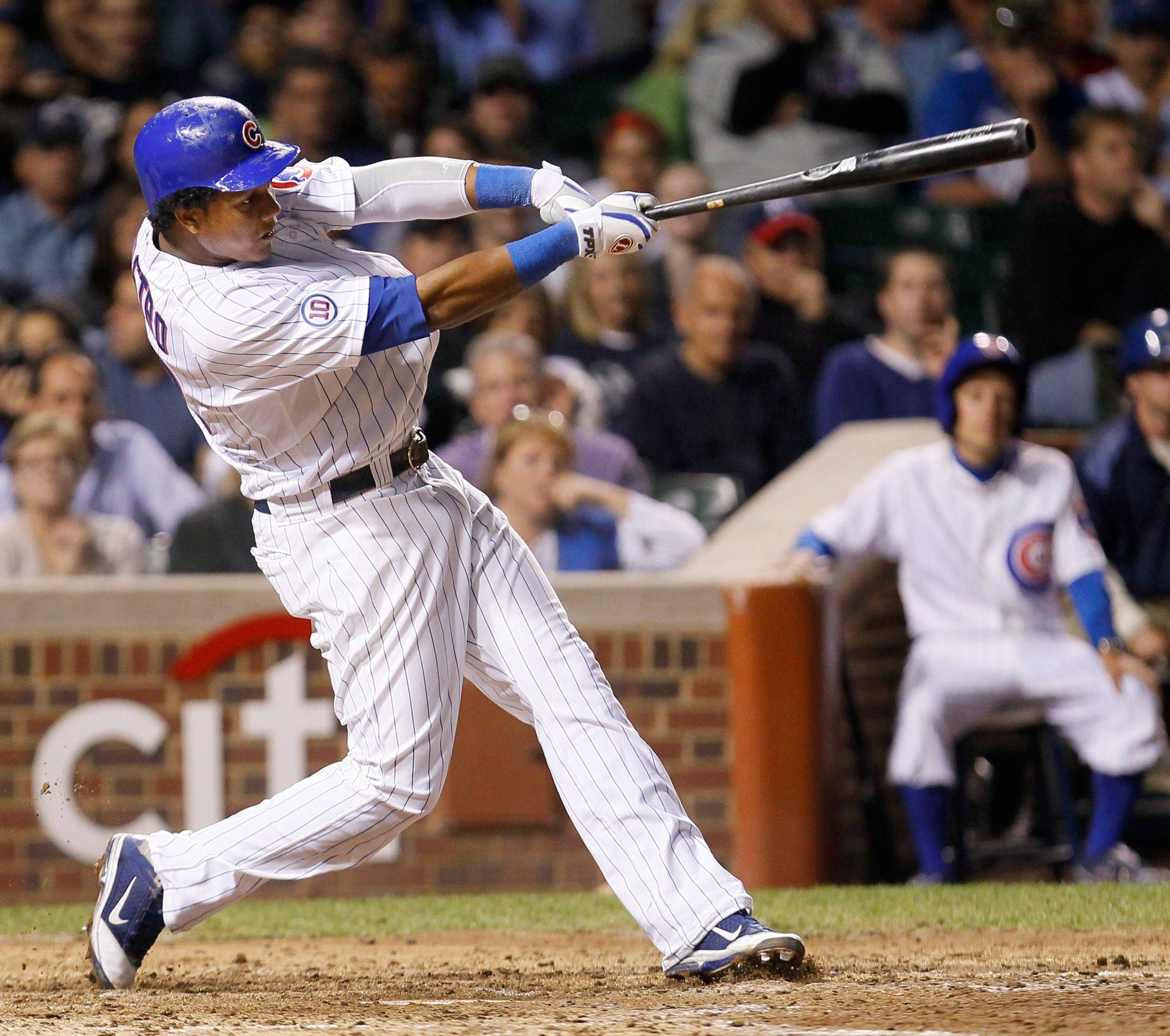 Cubs Starlin Castro hits a home run off Milwaukee Brewers starting pitcher Shaun Marcum during the sixth inning Tuesday night.