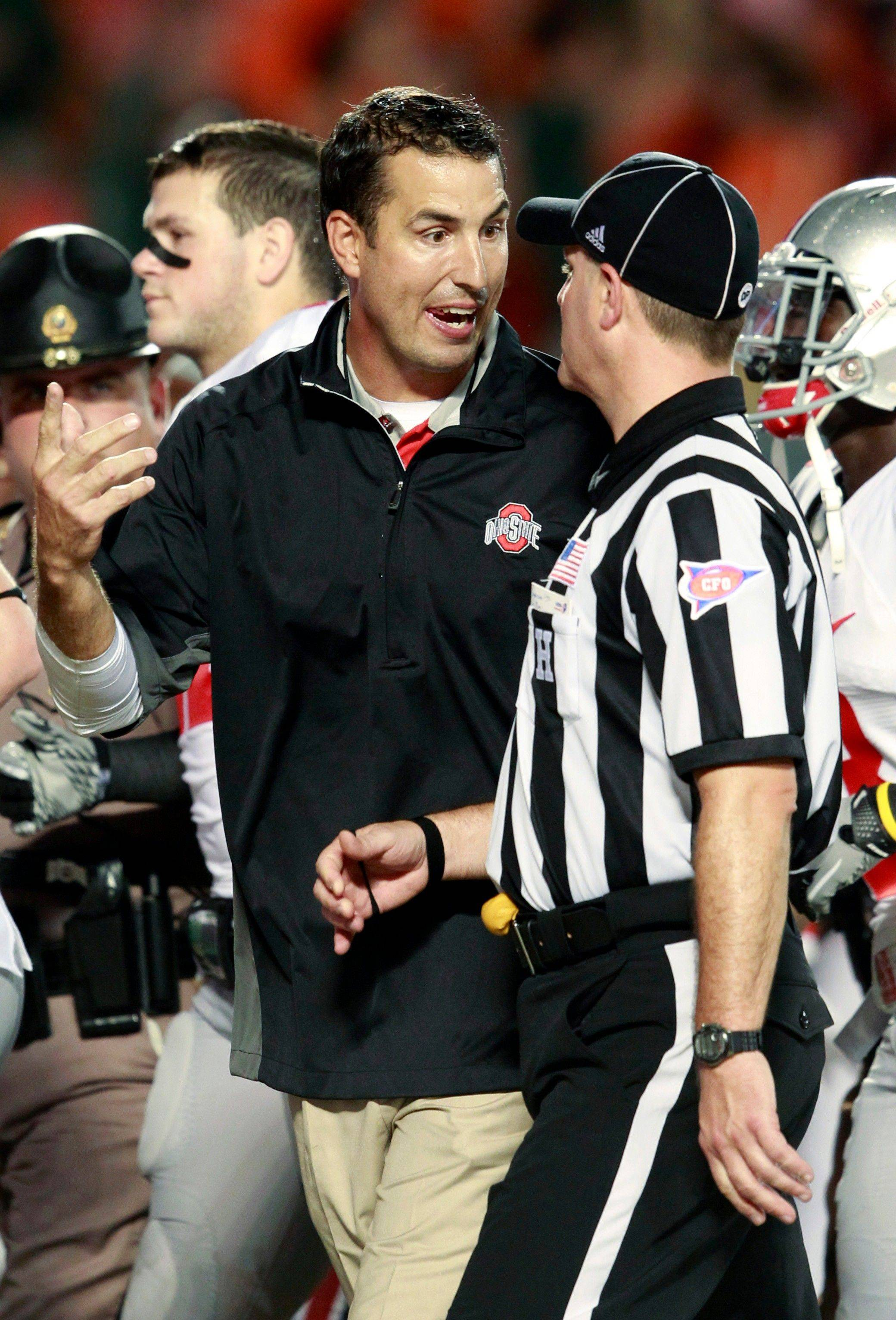Ohio State head coach Luke Fickell argues with head linesman Michael Dolce at the end of the second quarter of an NCAA college football game against Miami. In their loss to Miami, the offense couldn�t do much of anything and the defense was dinged for two early touchdowns that tilted the whole game into an uphill battle. Now Ohio State tries to find itself and its best lineup as it prepares to face Colorad