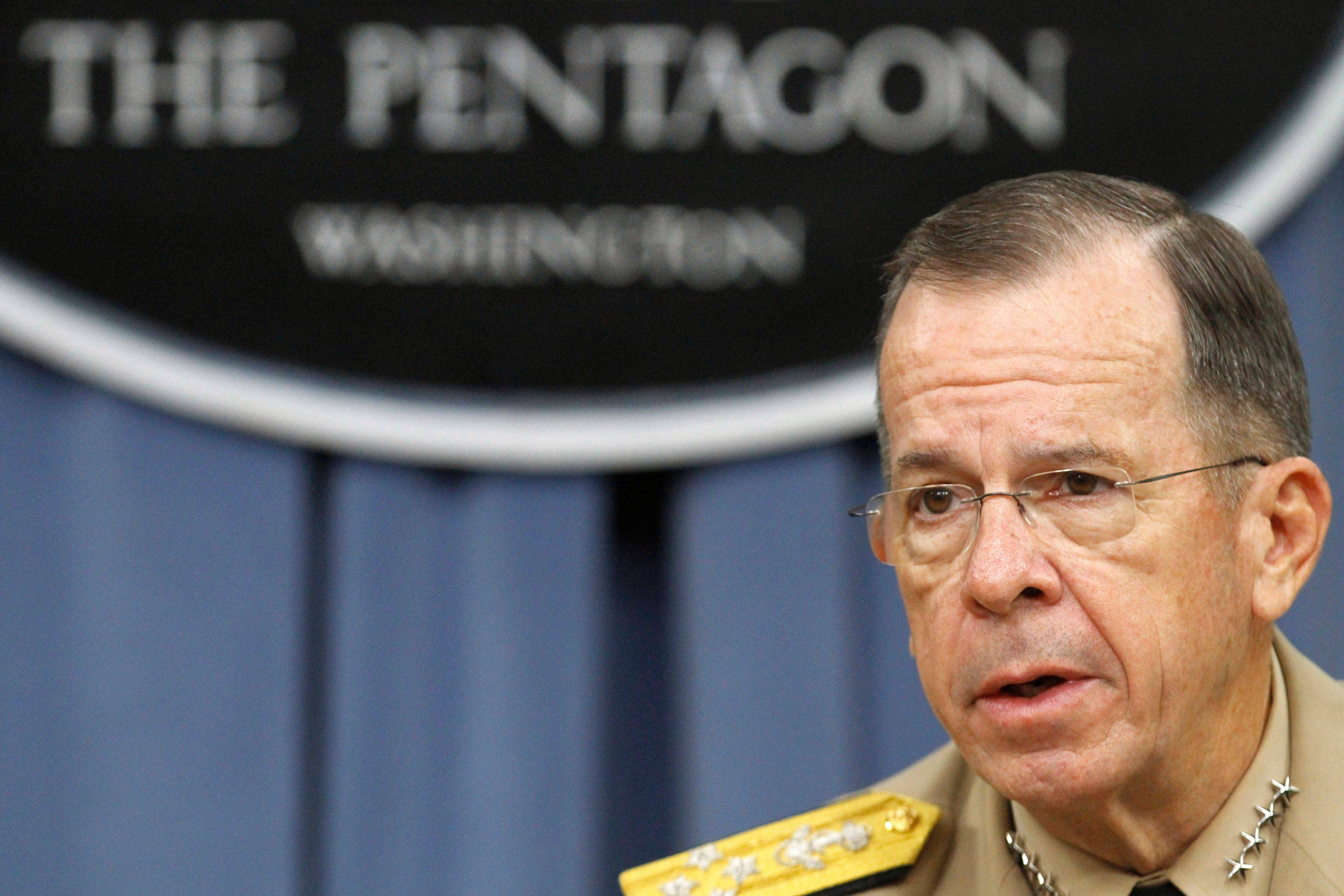 "Joint Chiefs Chairman Adm. Mike Mullen speaks about the repeal of ""don't ask don't tell"" Tuesday during a news cnference at the Pentagon."