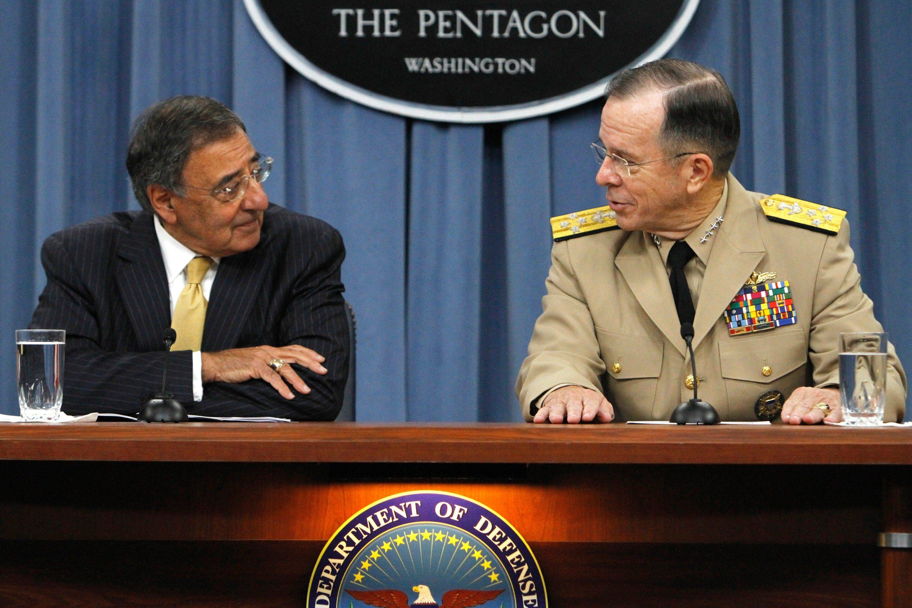 Defense Secretary Leon Panetta, left, and Joint Chiefs Chairman, Adm. Mike Mullen, brief the media Tuesday at the Pentagon in Washington. Panetta said repealing the ban on openly gay service makes this an historic day for the military and the nation.