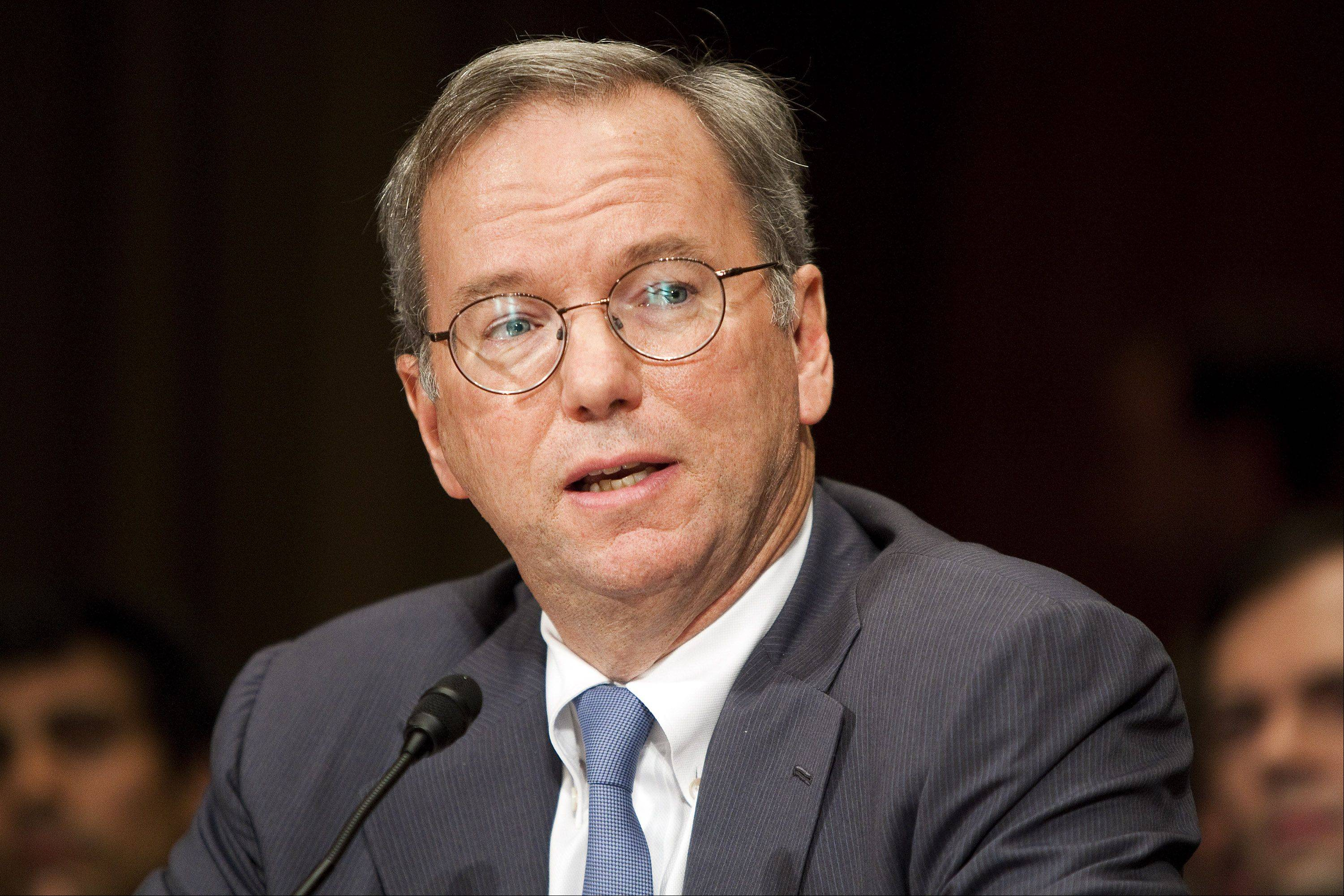 Eric Schmidt, chairman of Google Inc., testifies before the Senate Judiciary Committee's antitrust subcommittee in Washington on Wednesday.