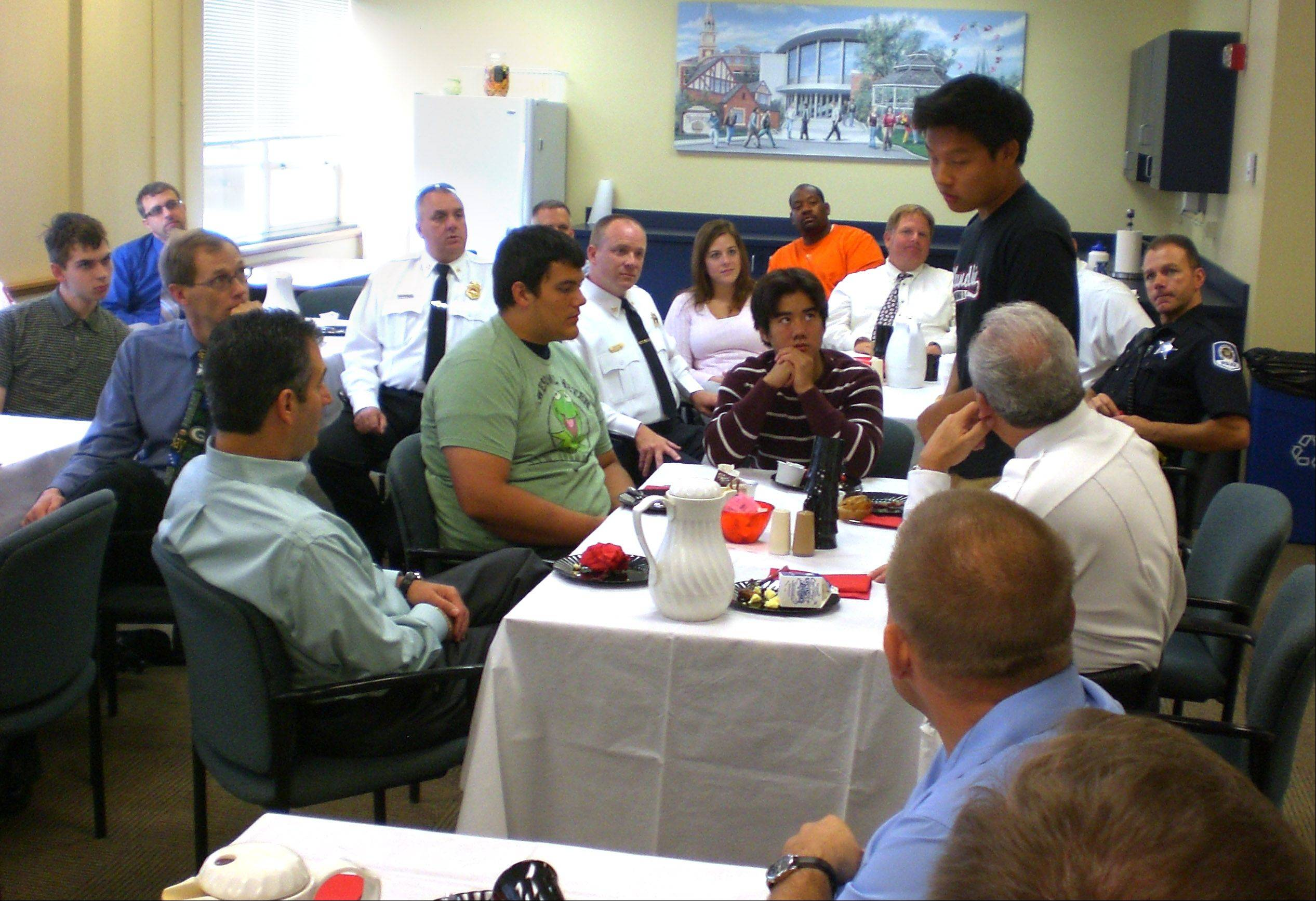 Members of the Mundelein fire and police departments were the guests of honor at Mundelein High School for a breakfast to remember the events of Sept. 11, 2001.