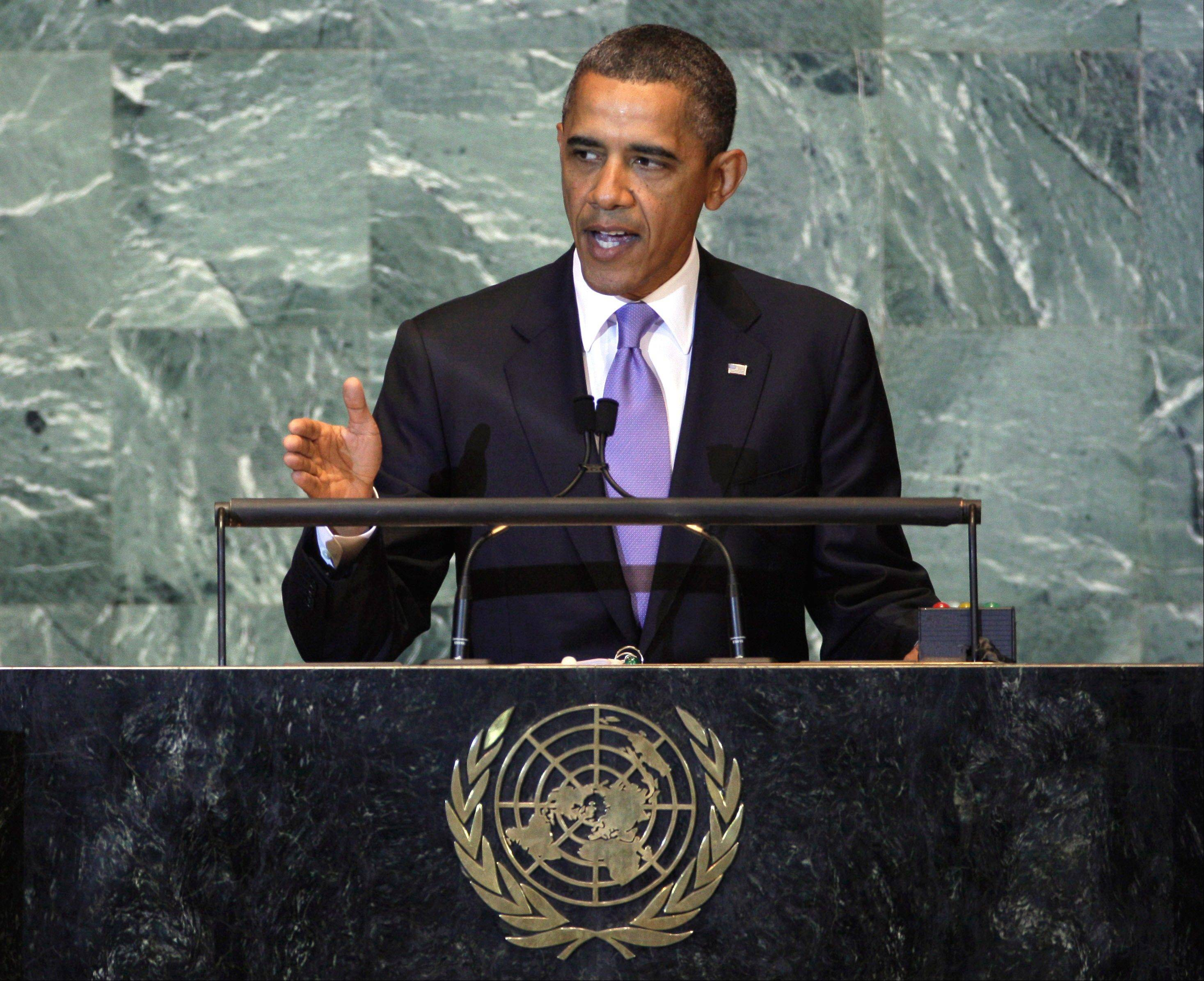 President Barack Obama addresses, speaking before the U.N. General Assembly Wednesday, warned Palestinians not to press for statehood through the international body.