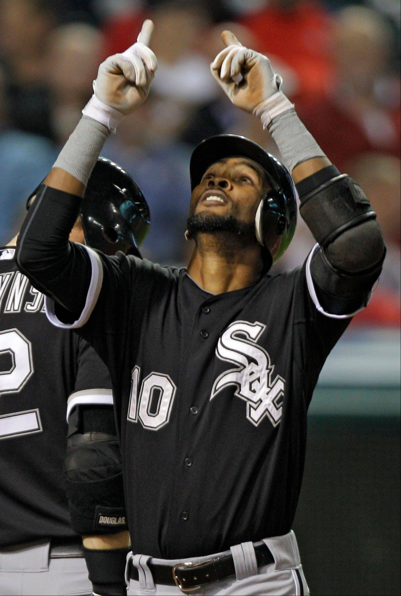 Alexei Ramirez celebrates after his solo home run off Cleveland Indians relief pitcher Chad Durbin in the eighth inning Wednesday.