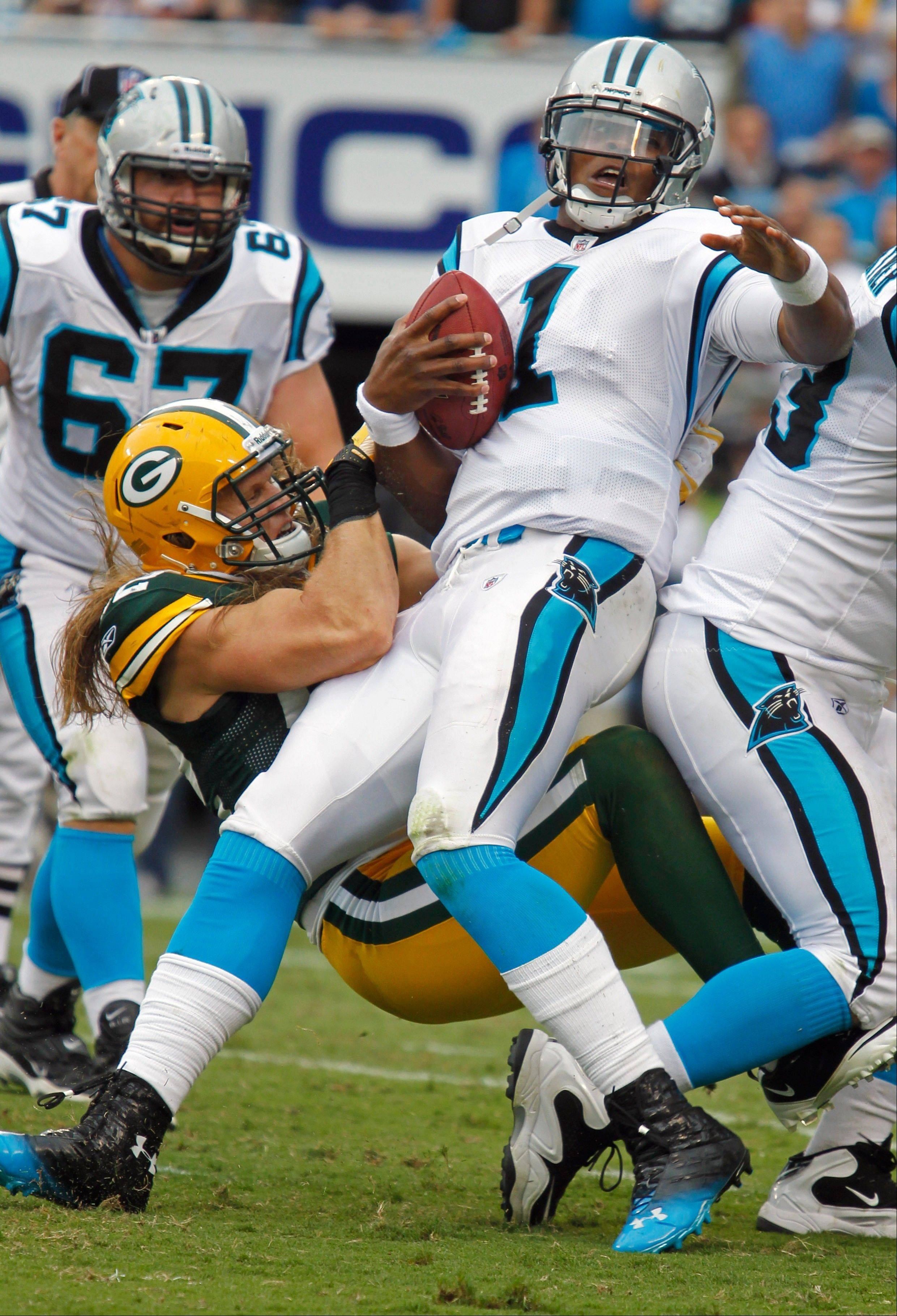 Clay Matthews sacks Cam Newton last week during the Packers� 30-23 victory over the Panthers. Matthews, who will be coming after Jay Cutler on Sunday at Soldier Field, had 23� sacks in his first two years in the league.