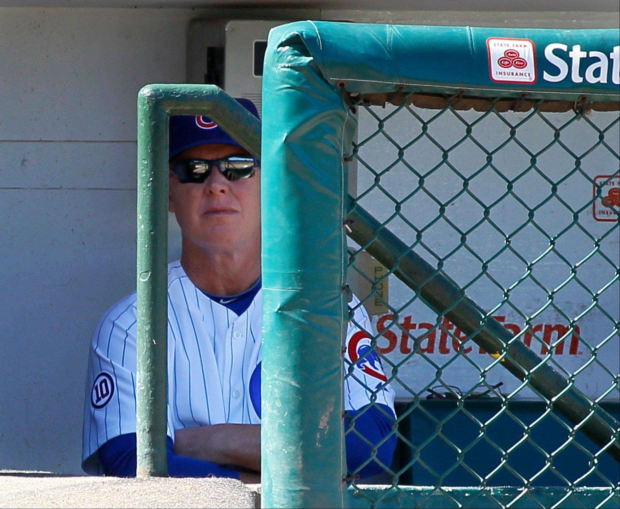 Manager Mike Quade watches from the dugout Wednesday as the Cubs played their final home game of the season.