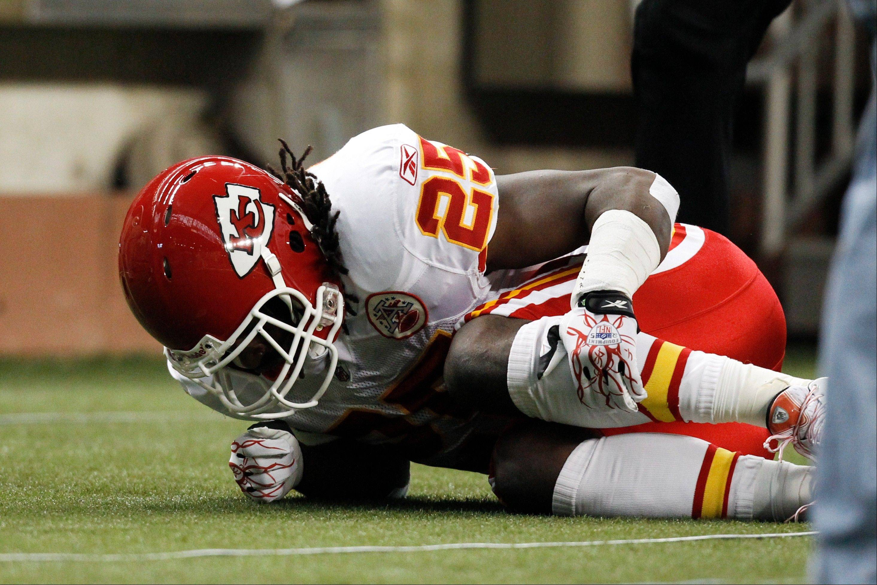 Kansas City Chiefs running back Jamaal Charles is out for the season after tearing the ACL in his left knee Sunday against the Lions.