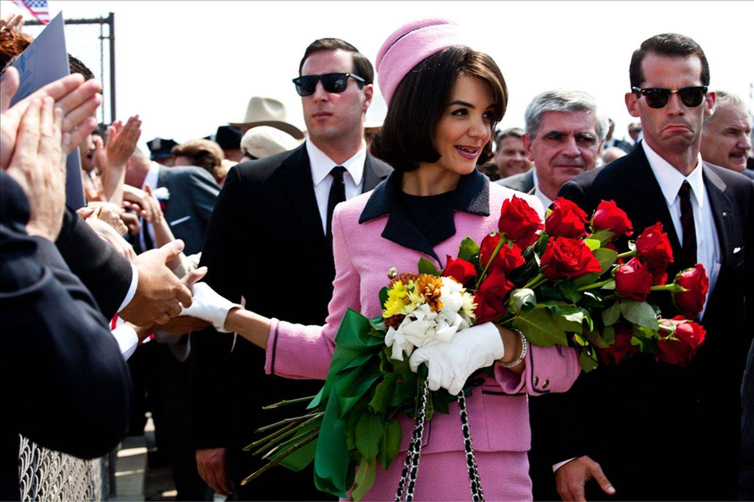 "Katie Holmes portrays Jacqueline Kennedy in the eight-part miniseries, ""The Kennedys,"" now on DVD."