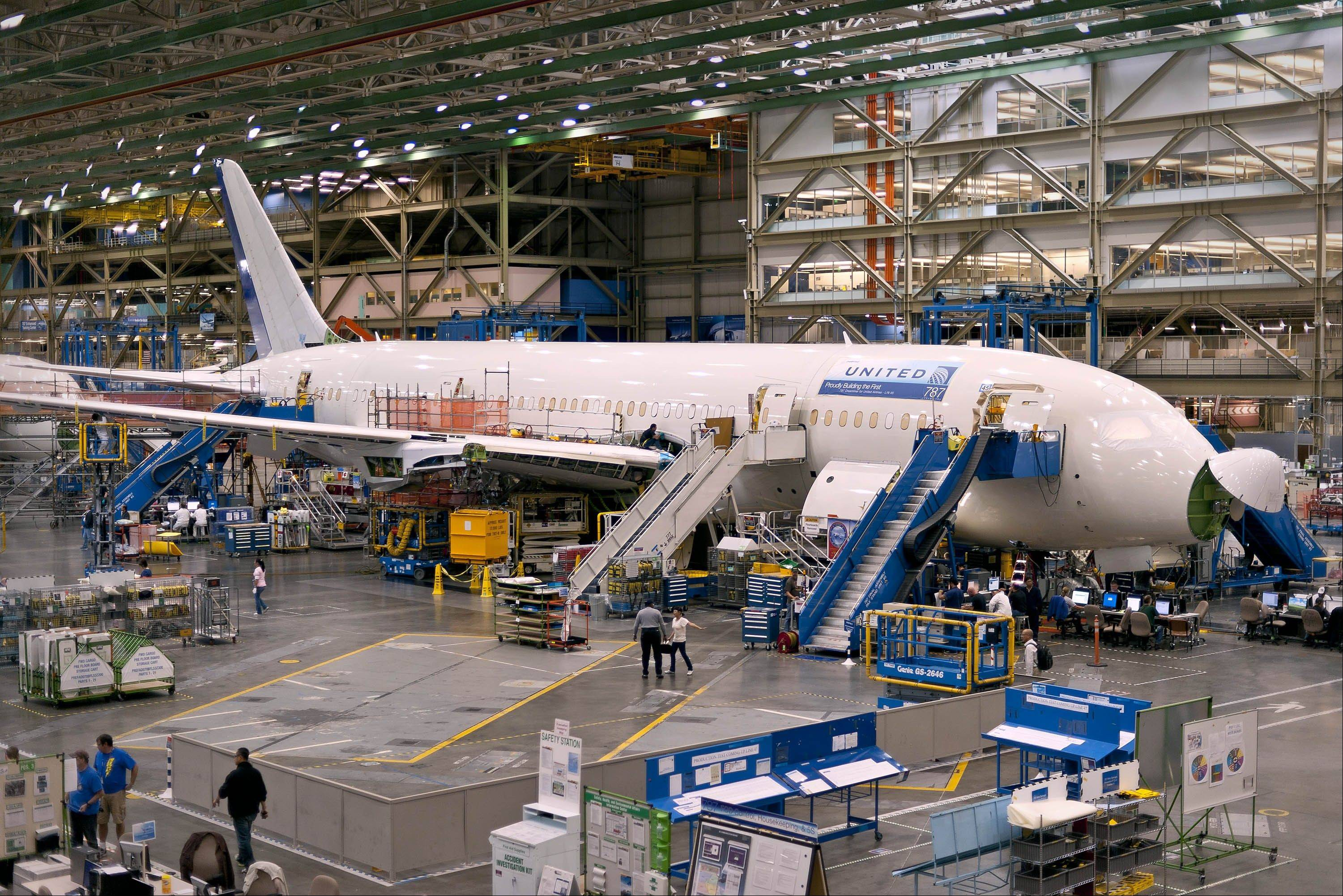 Assembly of Boeing Co.'s 787 Dreamliner at the company's factory in Everett, Washington.
