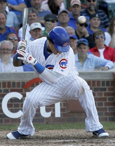 Starlin Castro seen here in his final Wrigley Field at bat of the year, collected his 200th hit with a first inning single against the Cardinals Friday.
