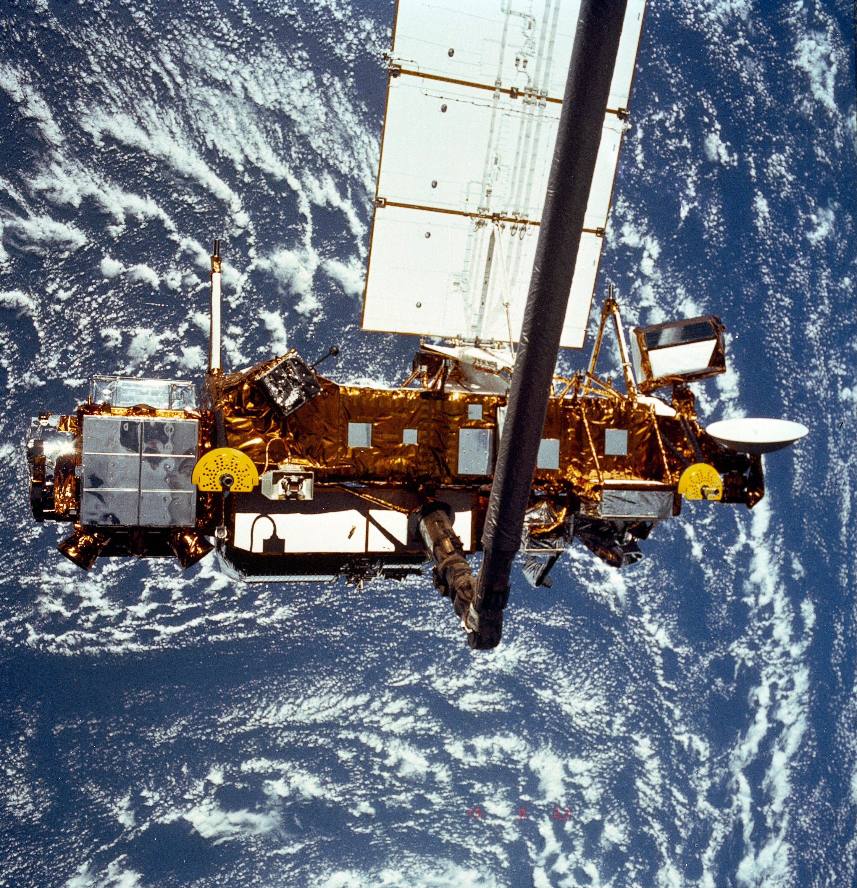 This is the STS-48 Upper Atmosphere Research Satellite during deployment from the shuttle in September 1991.