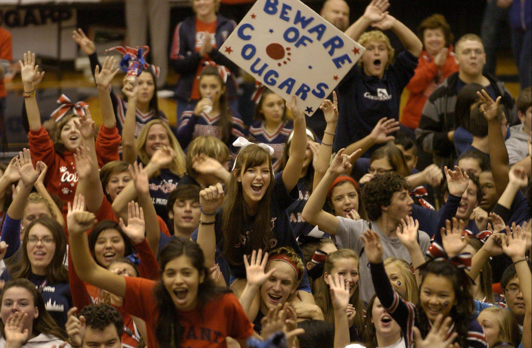 Conant High School's student body cheers and dances for the NBC 5 morning news team during Friday Dance Party.