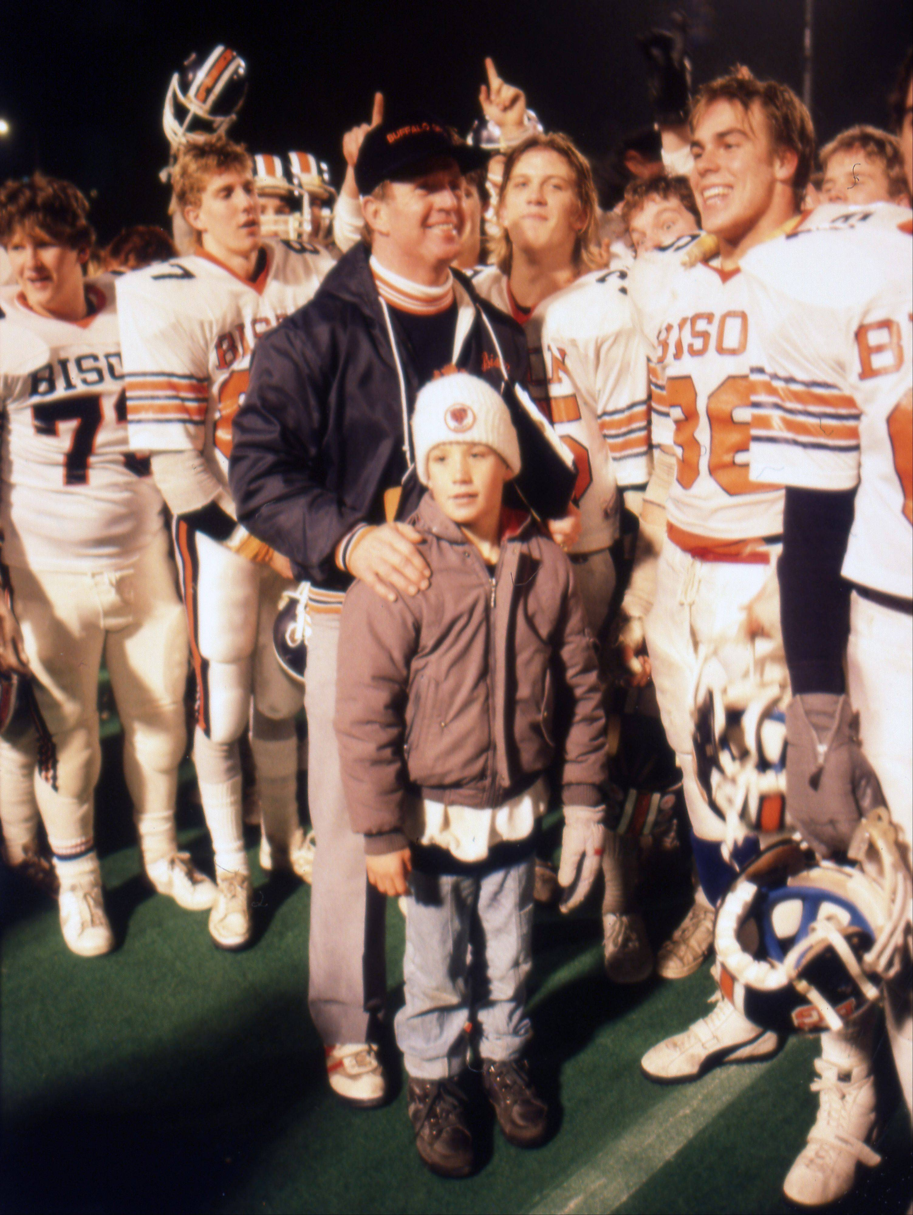 Former Buffalo Grove fotball coach Grant Balney on the sidelines with his team following the Bison's state championship effort on Nov. 29, 1986 at Ilinois State University.