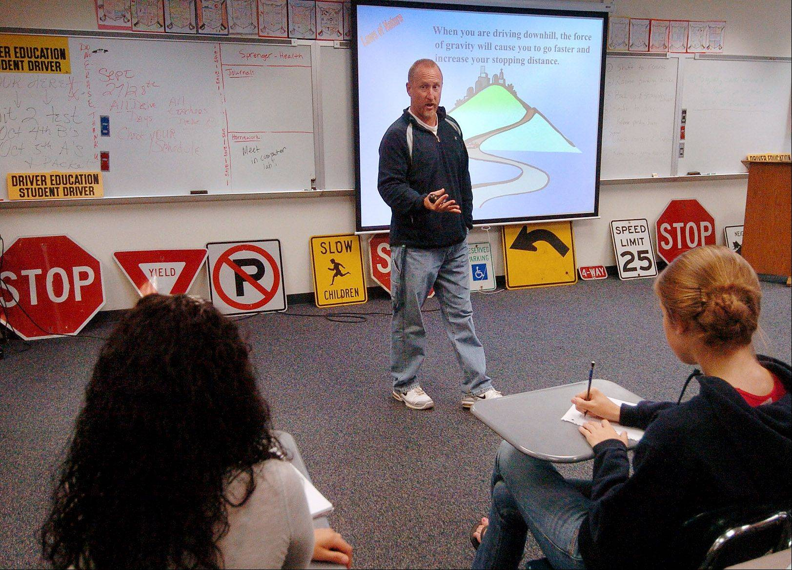 "Tim Lazzarotto, Prospect High School driver's ed teacher, teaching ""Alive at 25."""