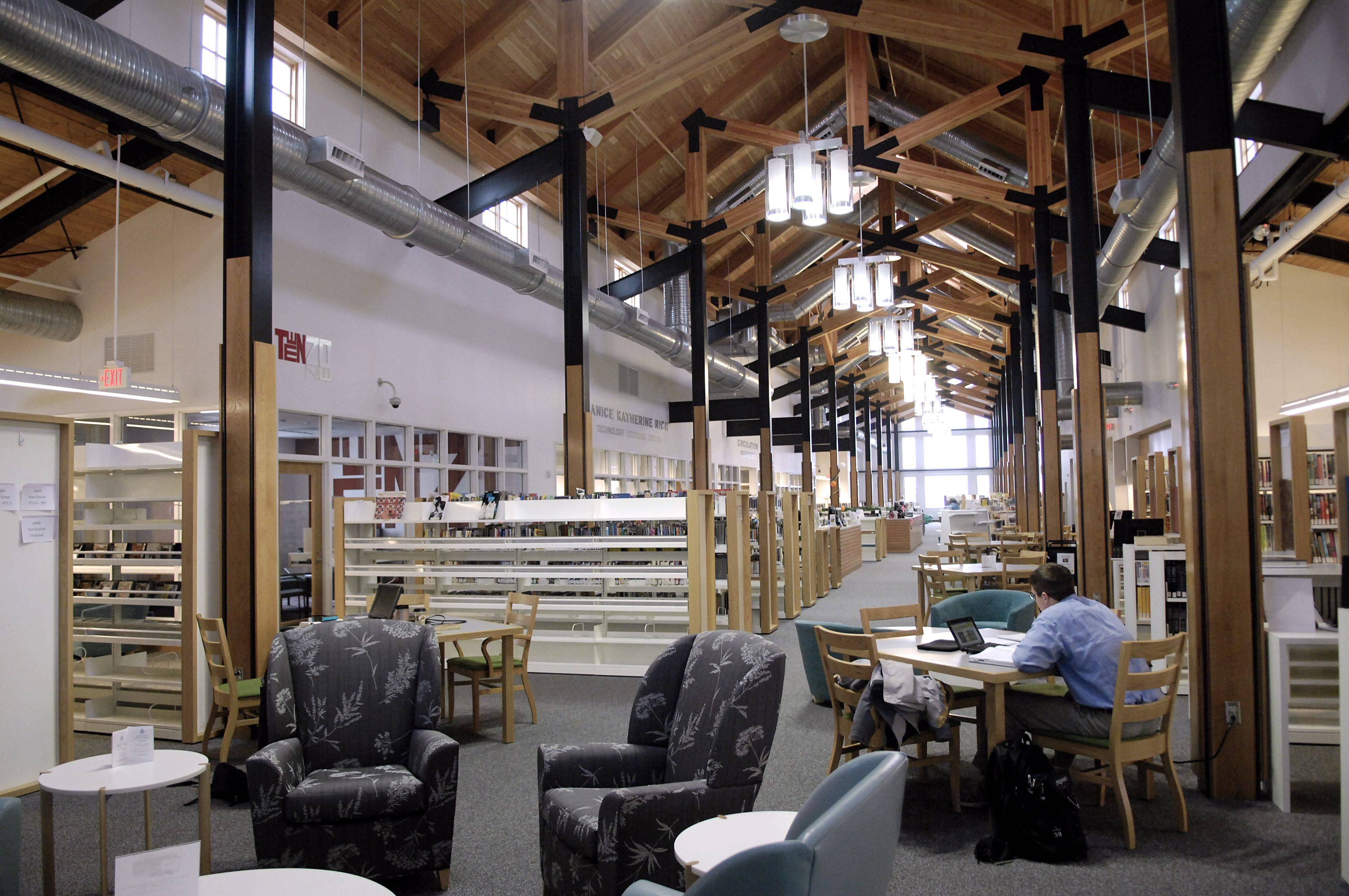 The Sugar Grove Library in early 2010, when the library was shutting off many lights to keep its electricity bill down.