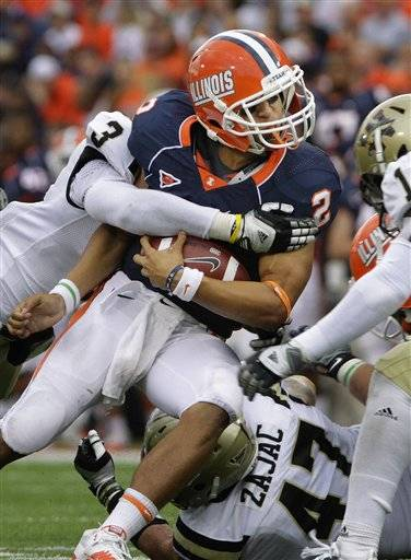 Down 13-10 with a first and 10 at the Western Michigan 14, quarterback Nathan Scheelhaase ran left on an option with Young trailing him, taking the pitch just as Scheelhaase absorbed a wicked hit. The Illini survived 23-20 and are 4-0 for the first time since 1951.