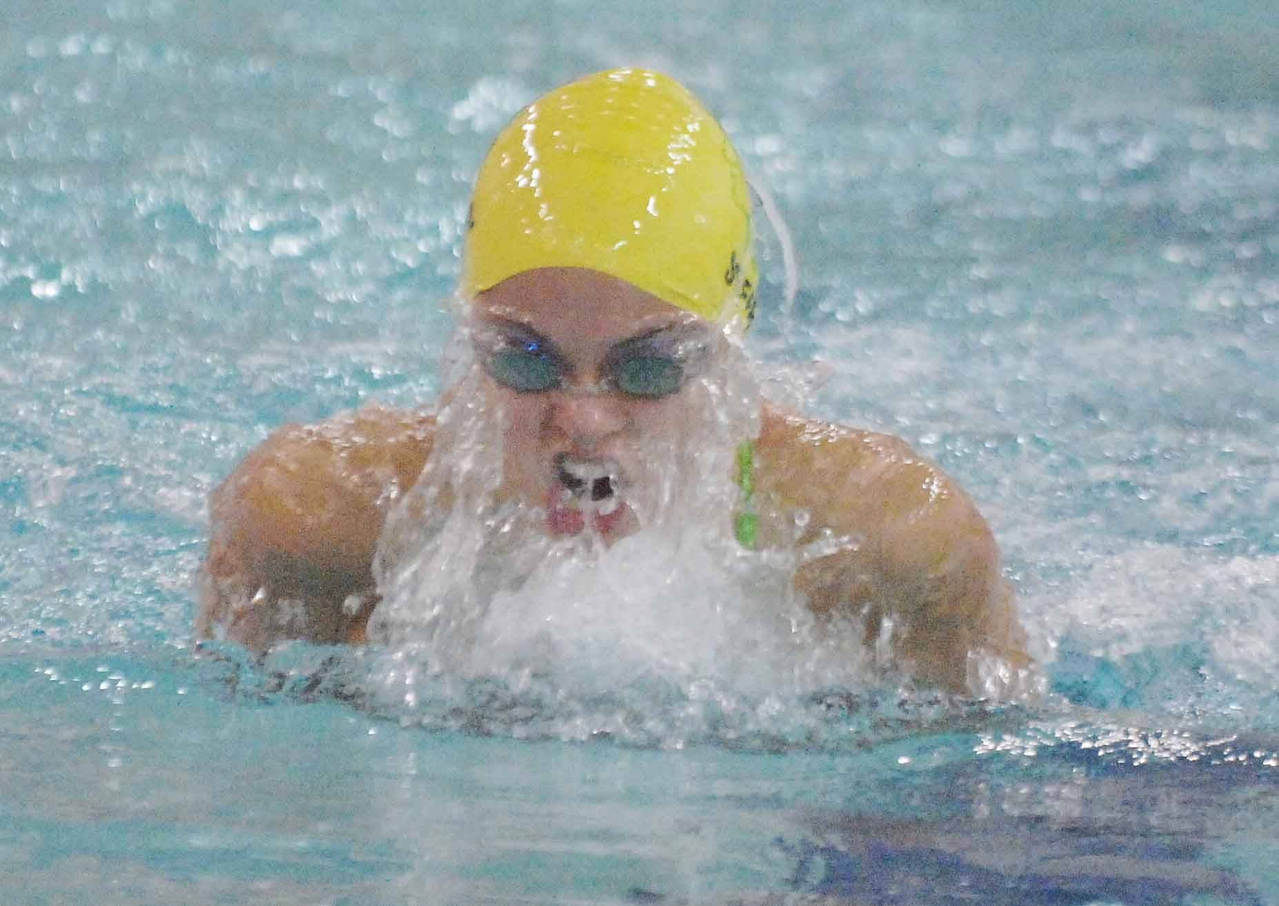 Alexa Steffi of Waubonsie in the 200 Medley Relay at the Downers Grove North swimming invitational Saturday.