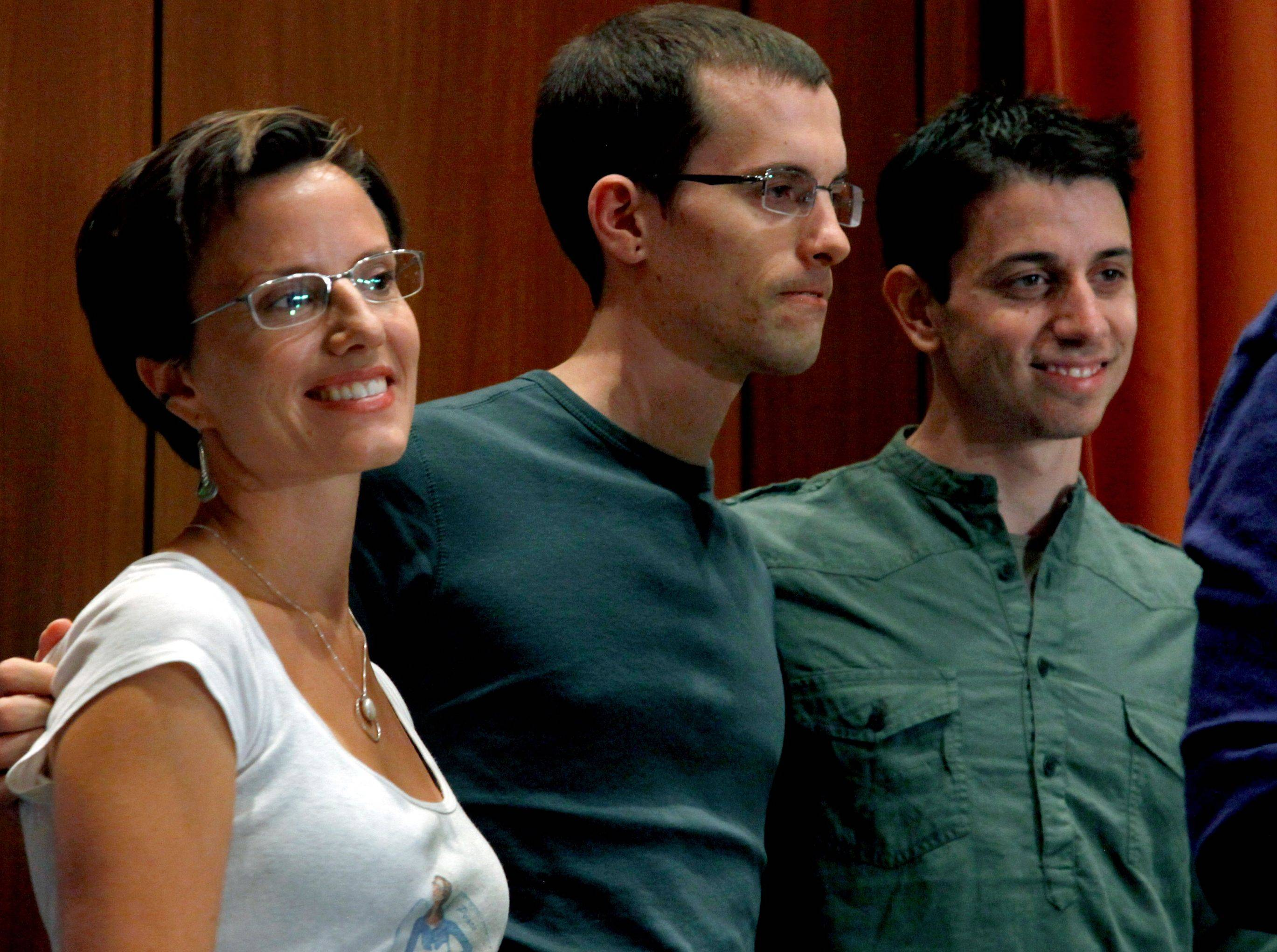 Sarah Shourd, from left, Shane Bauer and Josh Fattal speak to the press in New York on Sunday, the first day in America for the two men after they were freed from an Iranaian jail last week. Shourd was also held in Iran but was released last year.