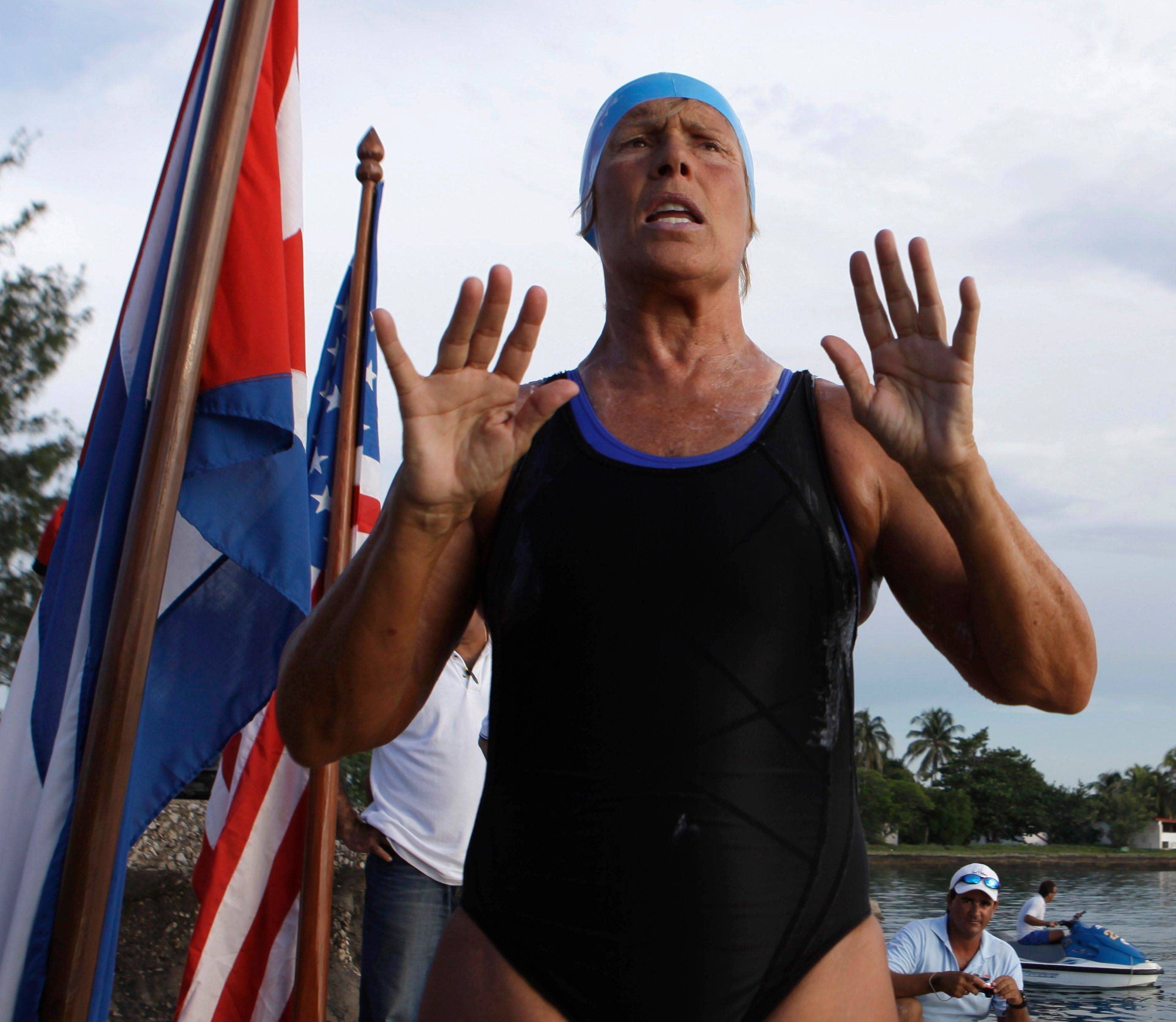 Swimmer Diana Nyad speaks with journalists before attempting to swim from Cuba to Florida at the Hemingway Marina in Havana on Friday.